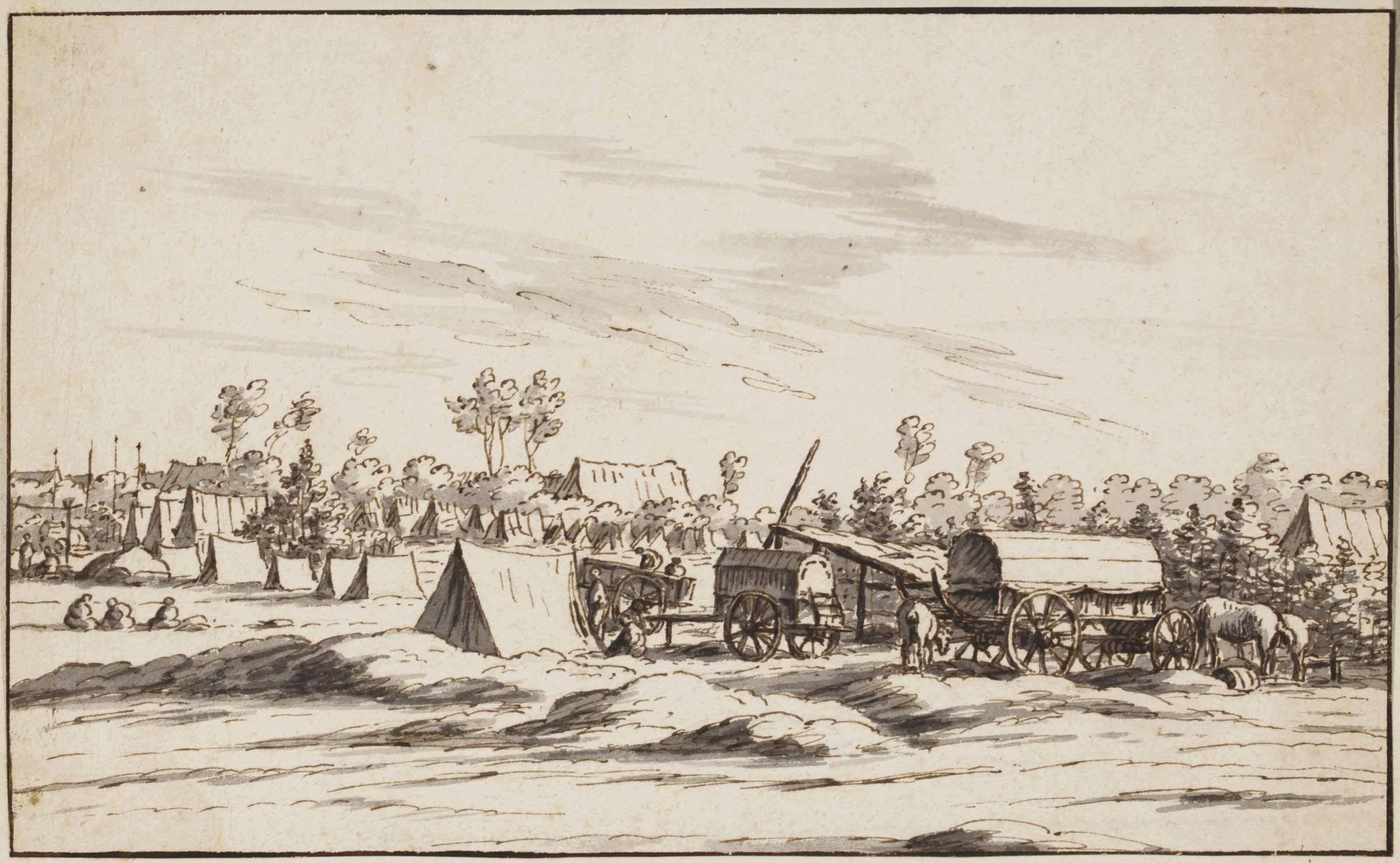A military encampment