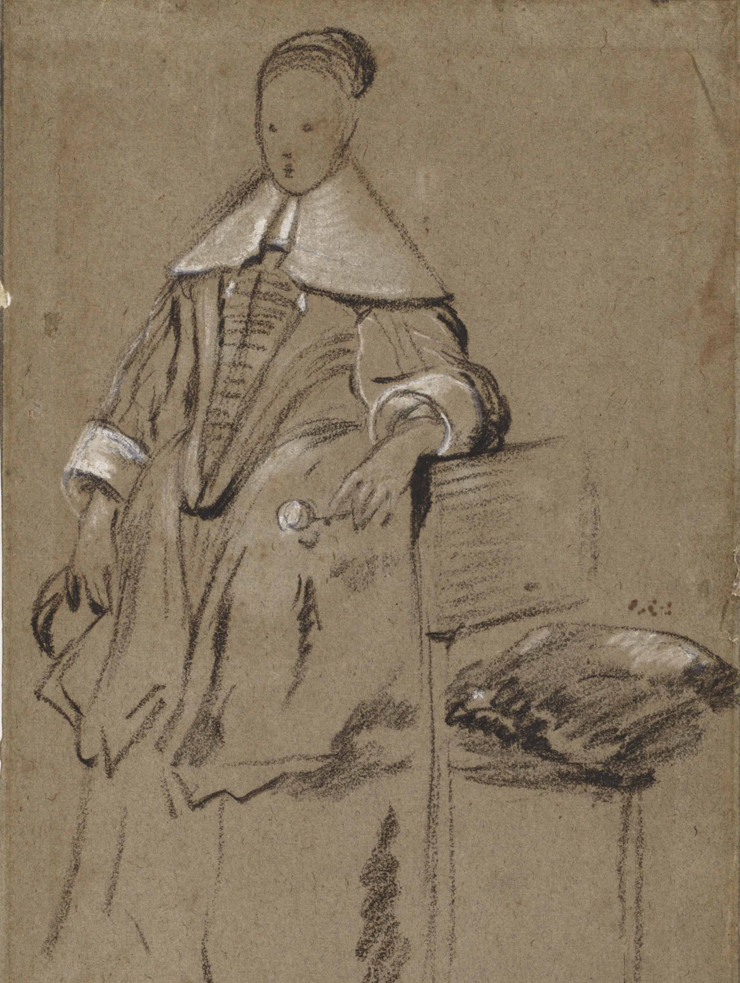 Costume study for the portrait of a girl, full-length (recto); Study of an arm resting on a chair, and a counterproof of a study of a standing man (verso)