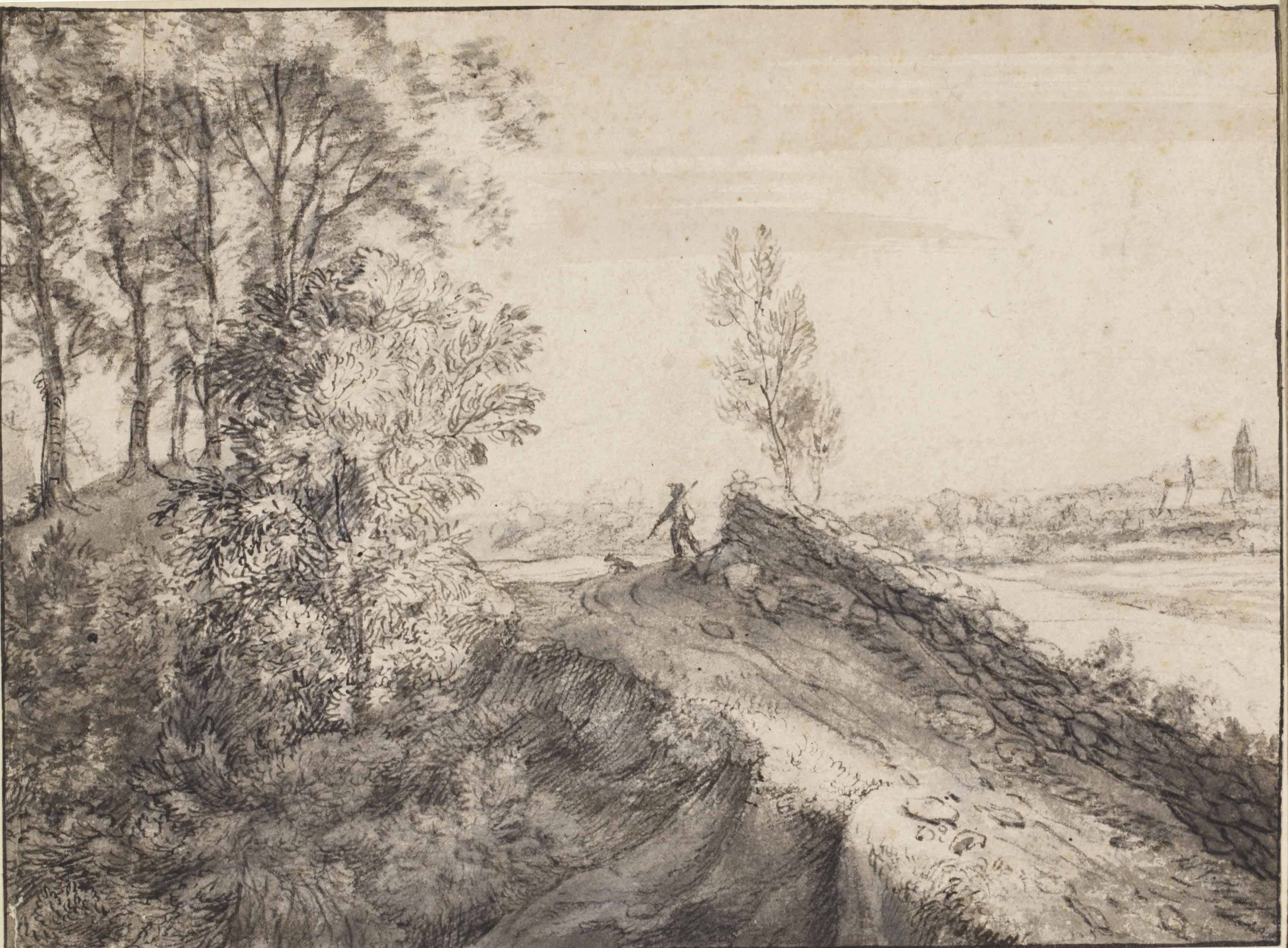 A man and a dog on a path in a wooded pastoral landscape