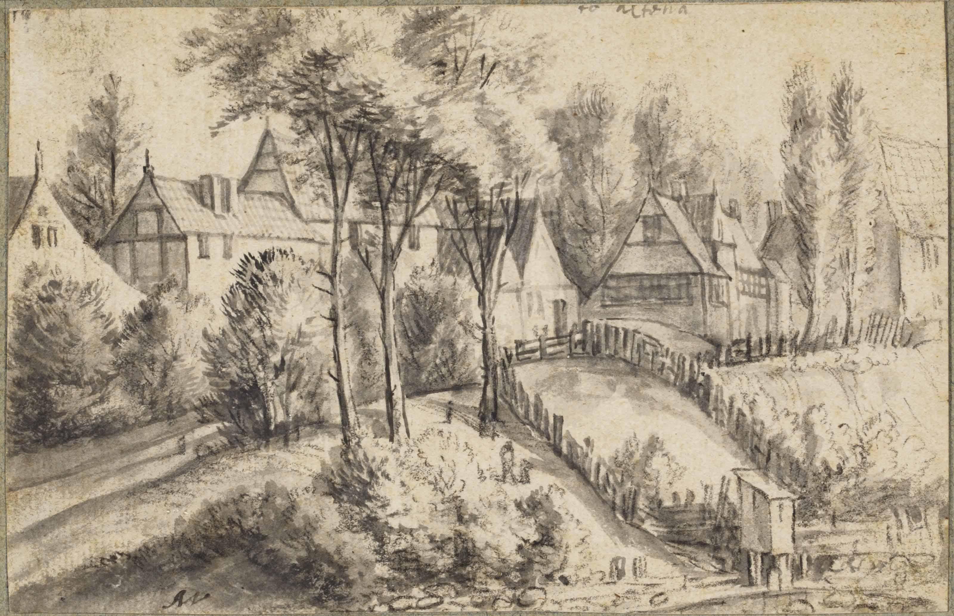 Houses near Altona (recto); A building on a rugged outcrop (verso) (pl.13)