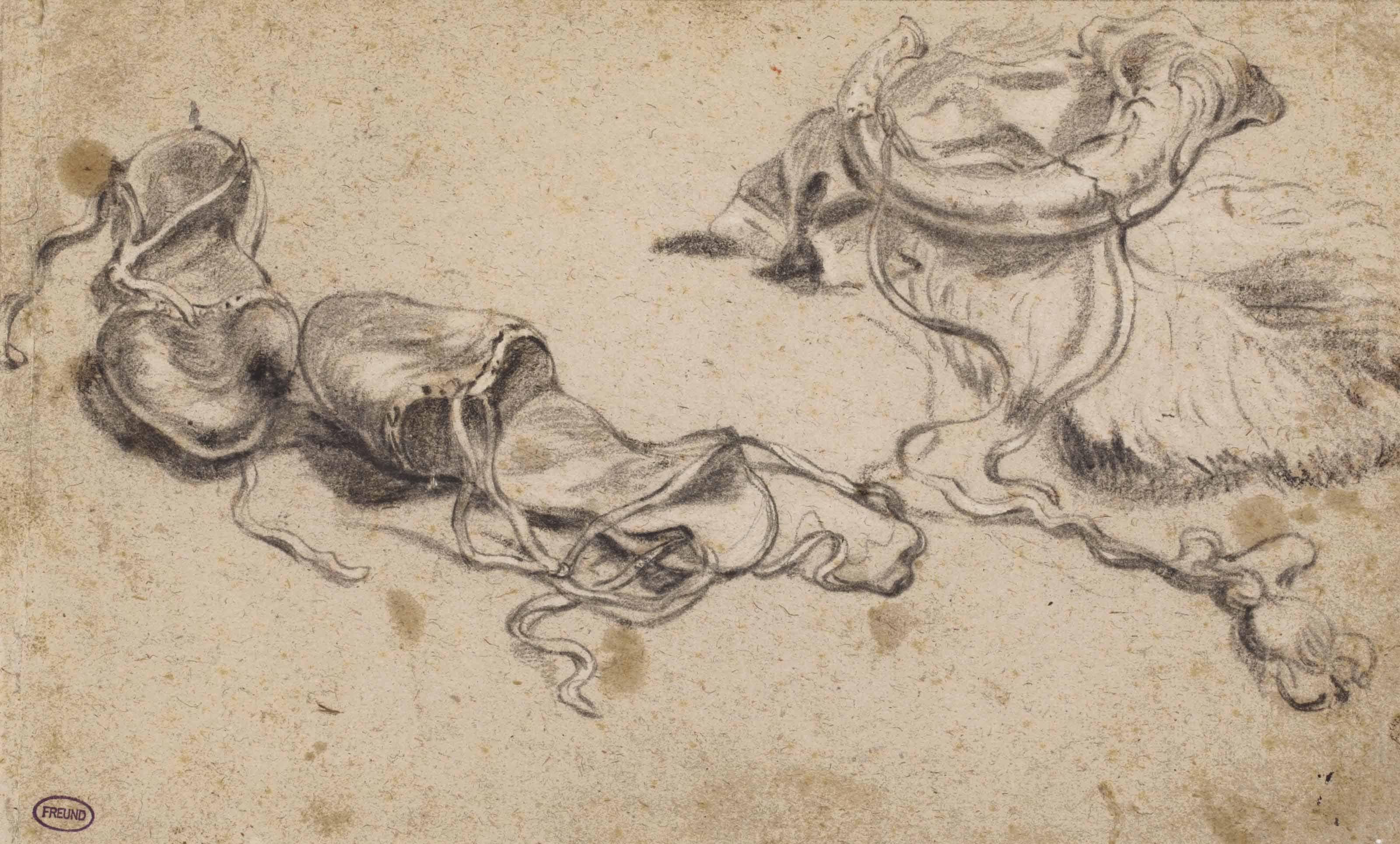A study sheet of slippers and a powder horn