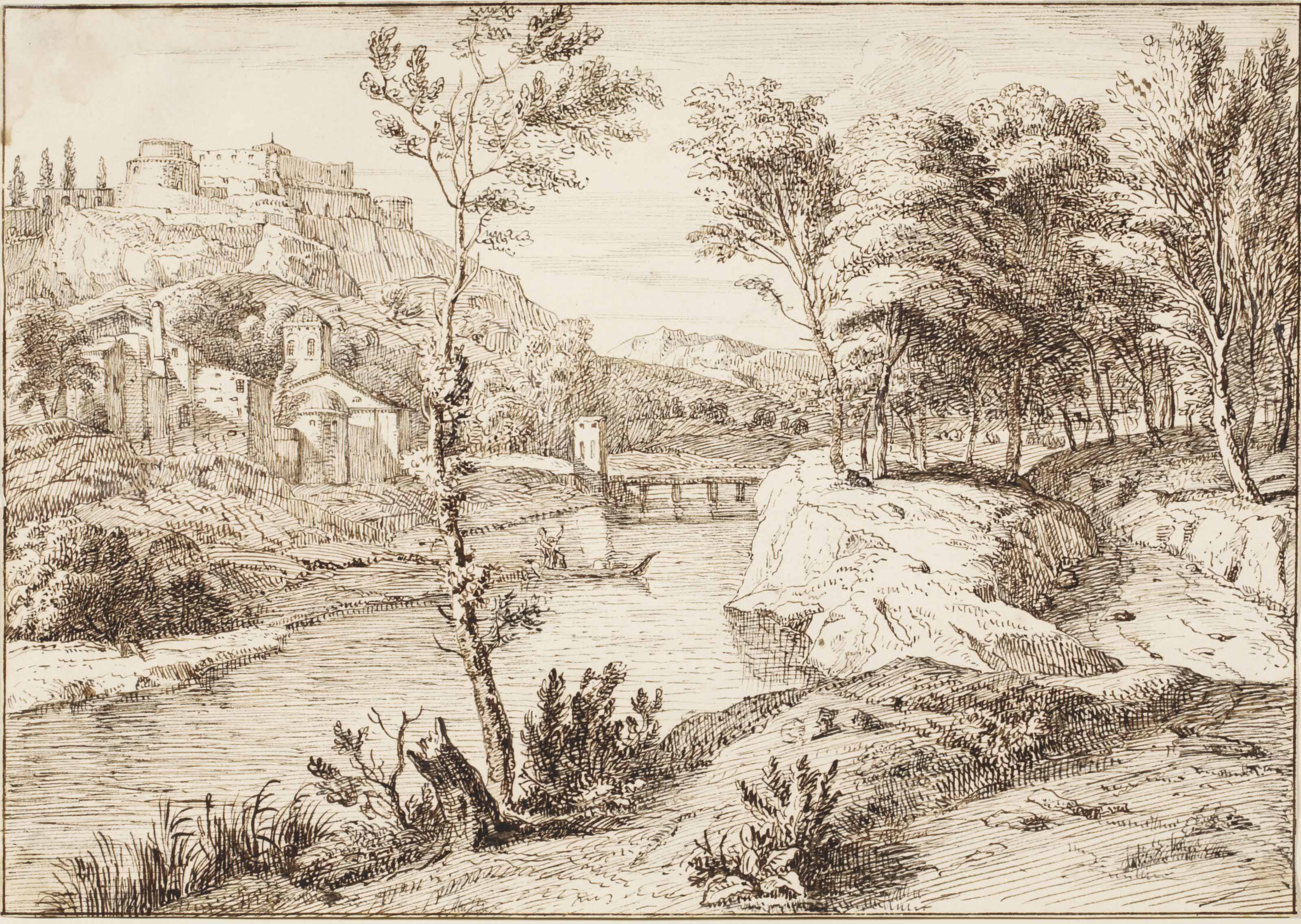 An Italianate wooded river landscape with a castle on a hill