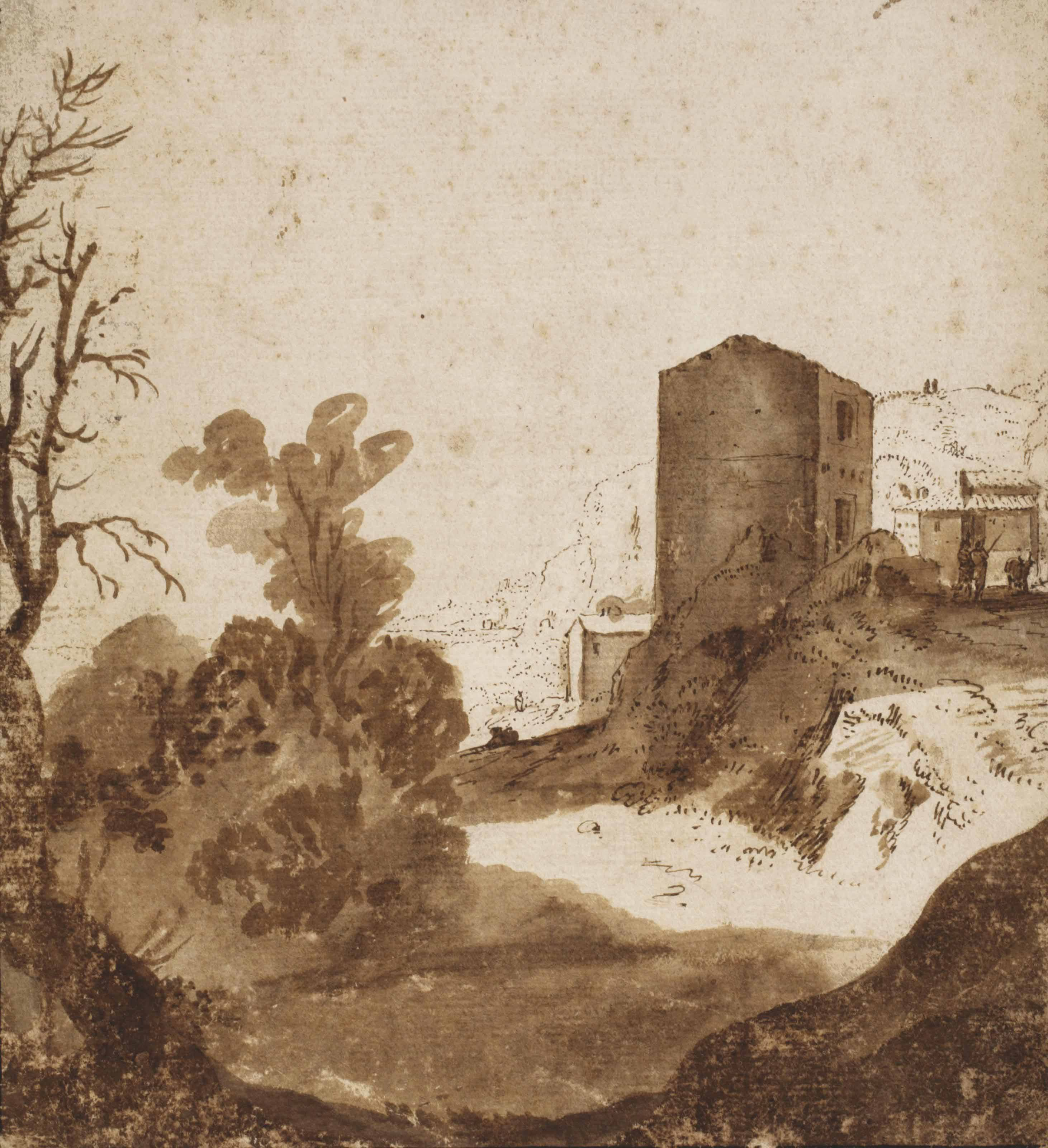 A tower in a hilly landscape near Rome