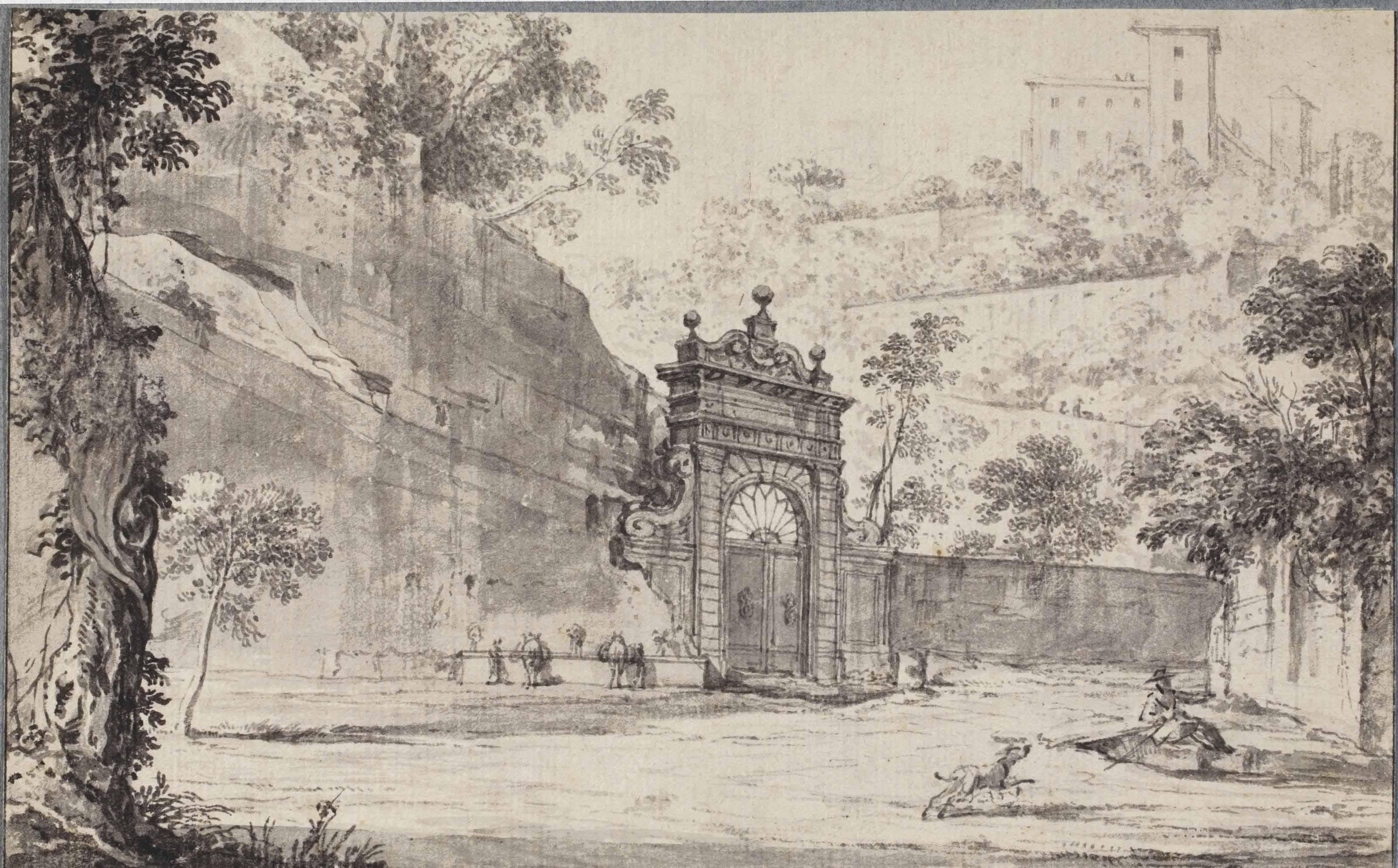 An entrance gate, probably in the Viale del Muro Torto, Rome