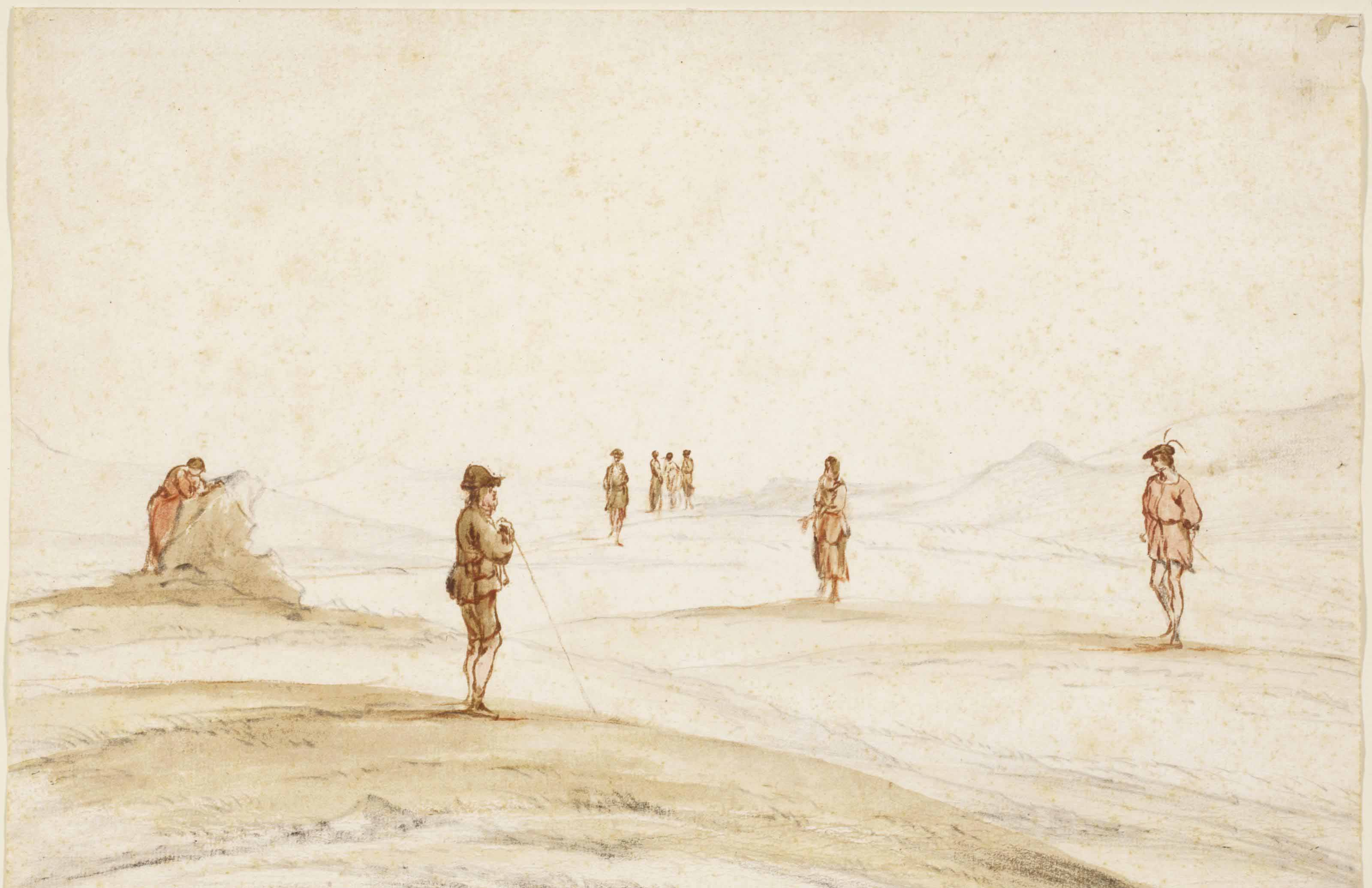 Figures on a beach