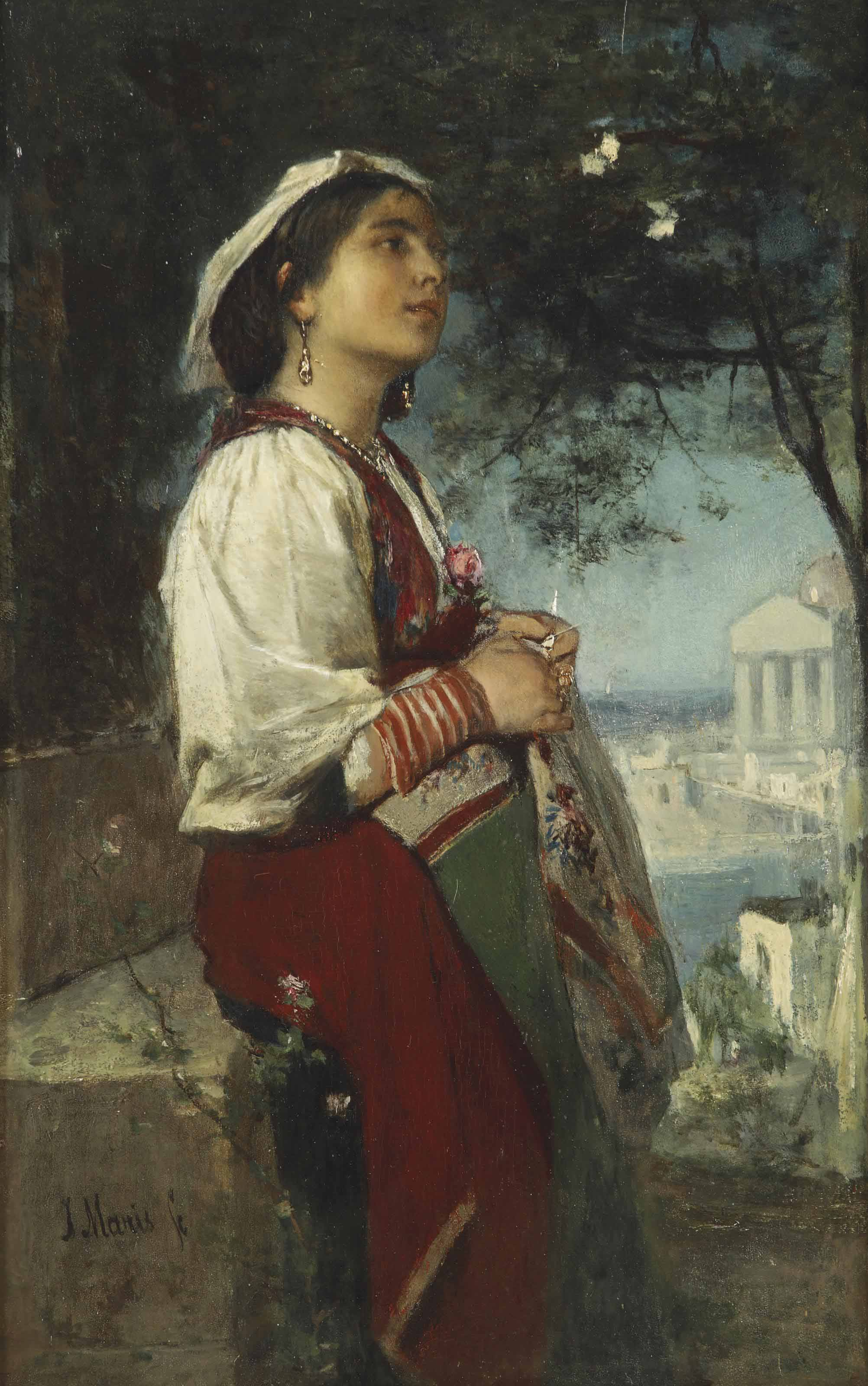 A young Italian beauty with butterflies