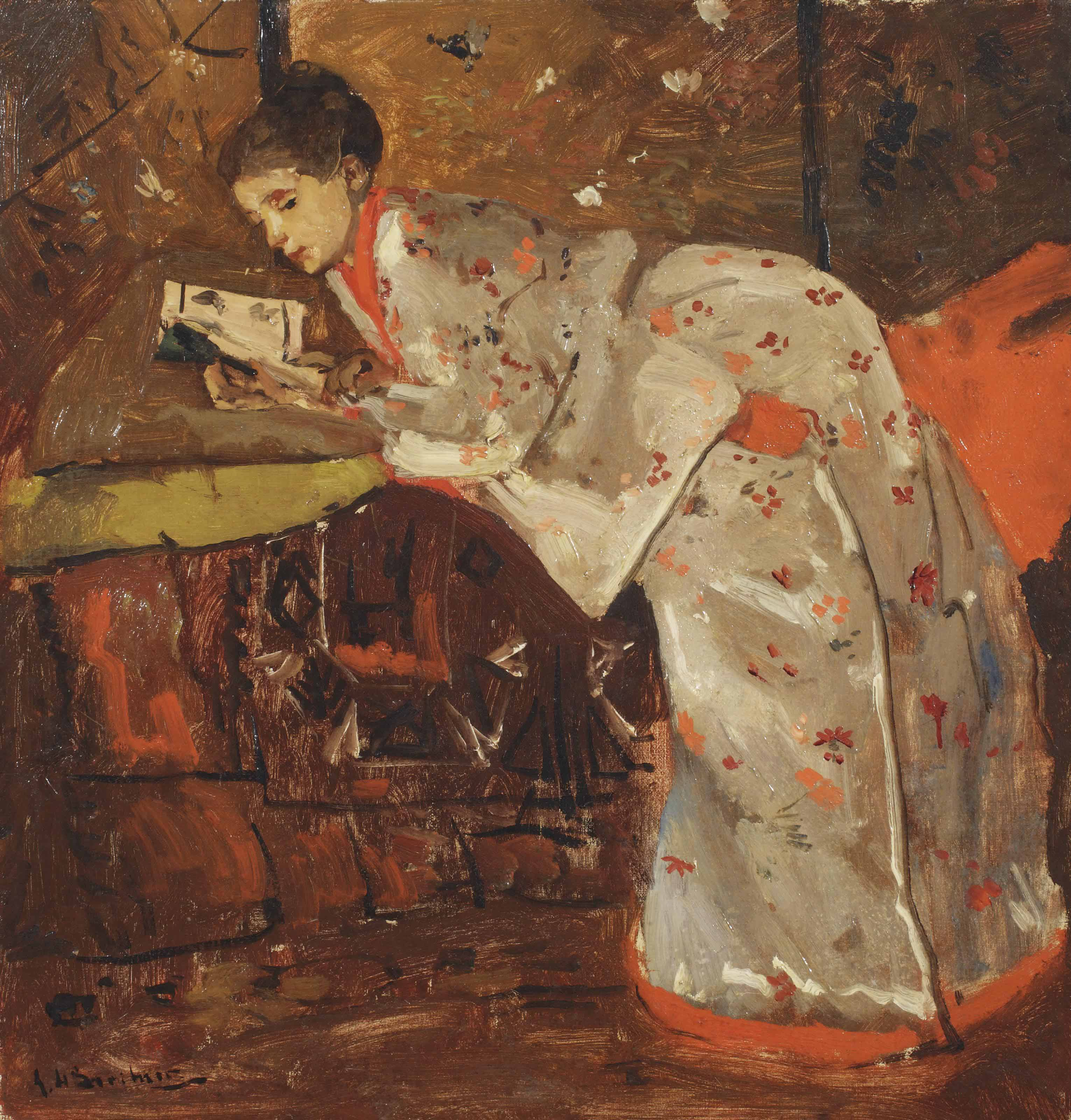 Vrouw in Japansche kimono (Geesje Kwak): girl in a white kimono