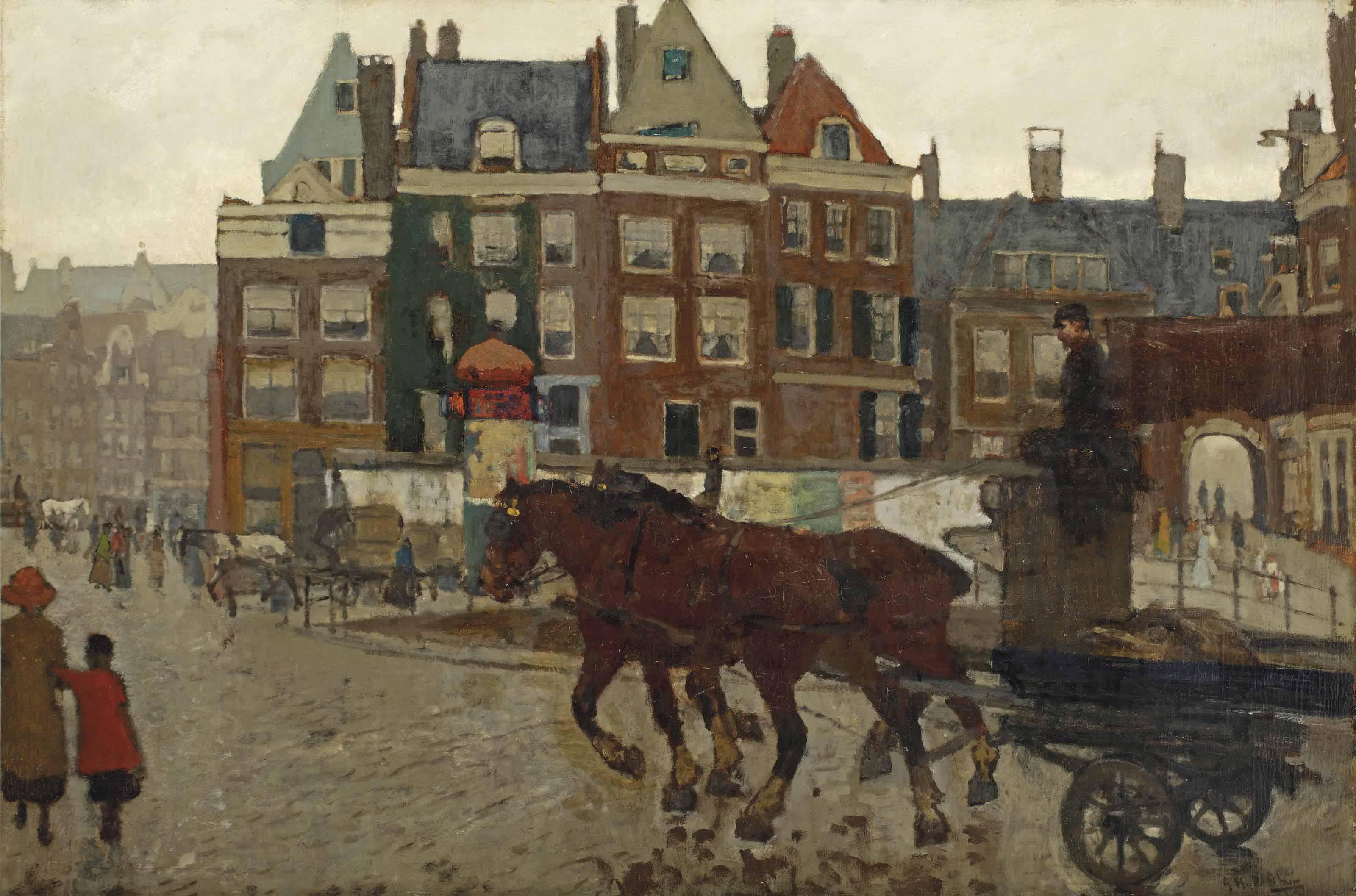 Het beurspoortje: a view of the Rokin with Het Beurspoortje, Amsterdam