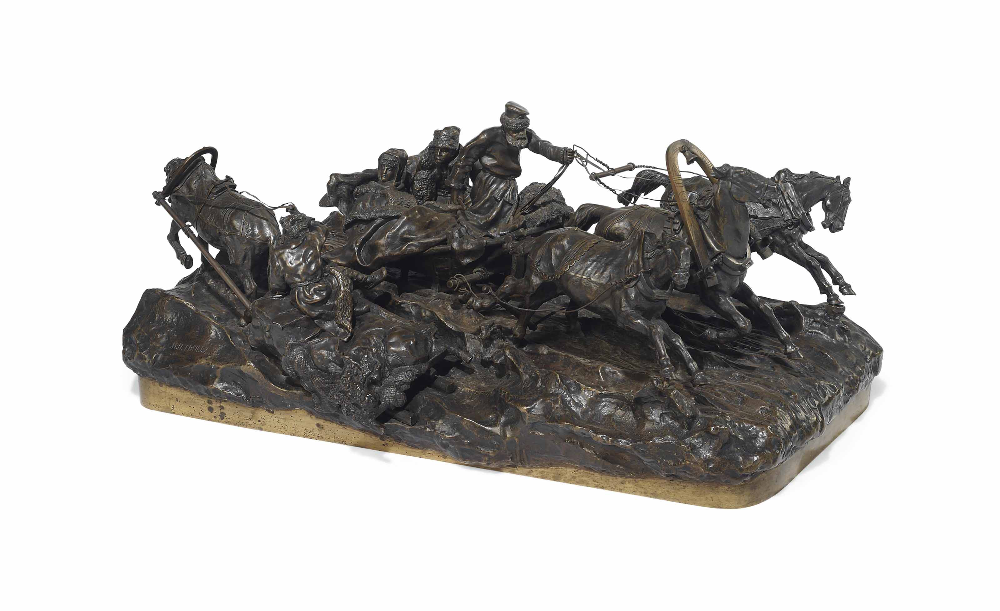 A RUSSIAN PATINATED BRONZE EQUESTRIAN GROUP OF A TROIKA PASSING A PEASANT SLEIGH