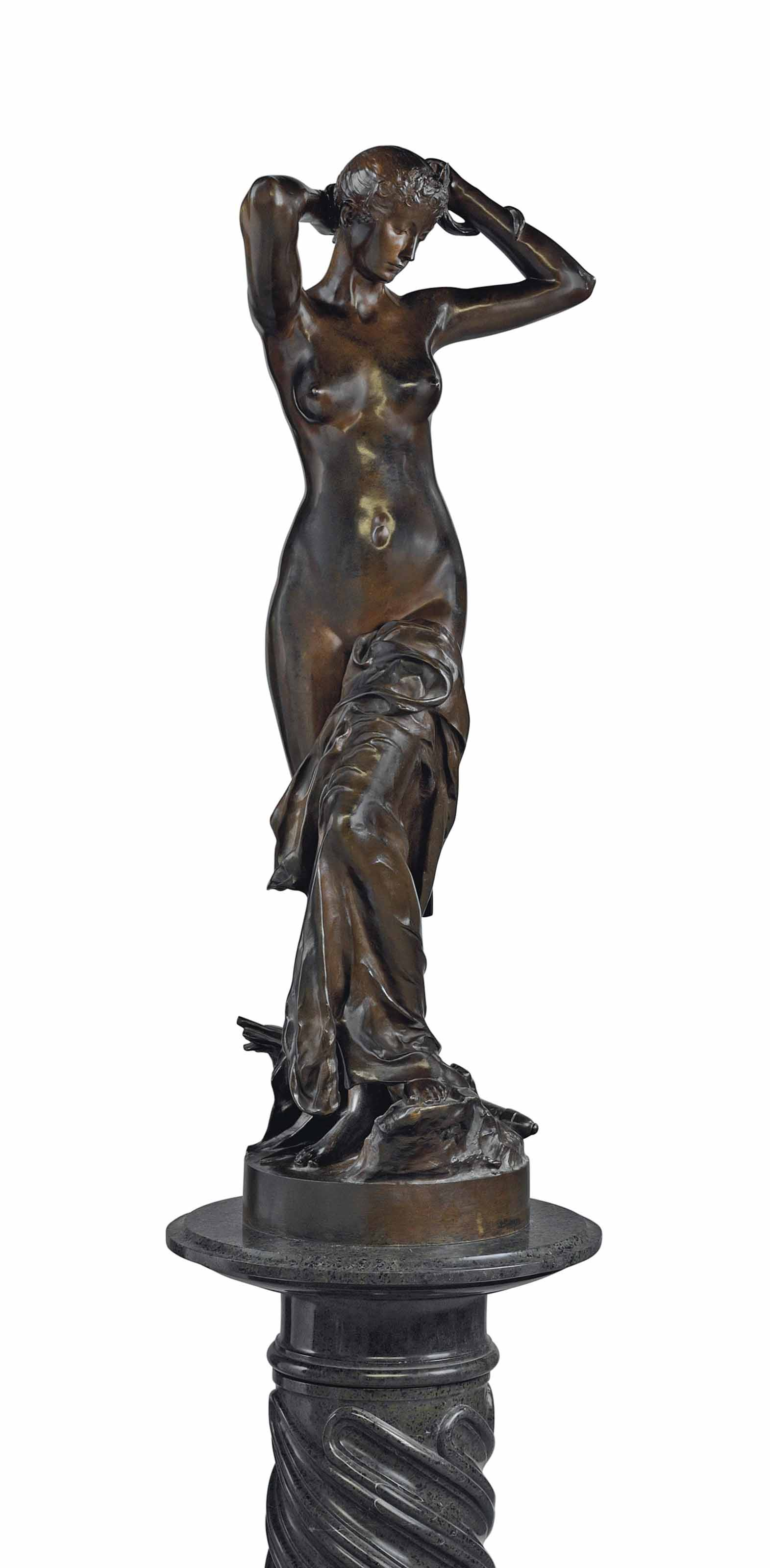 A FRENCH PATINATED BRONZE FIGURE ENTITLED 'DIANE APRES LE BAIN', ON PEDESTAL