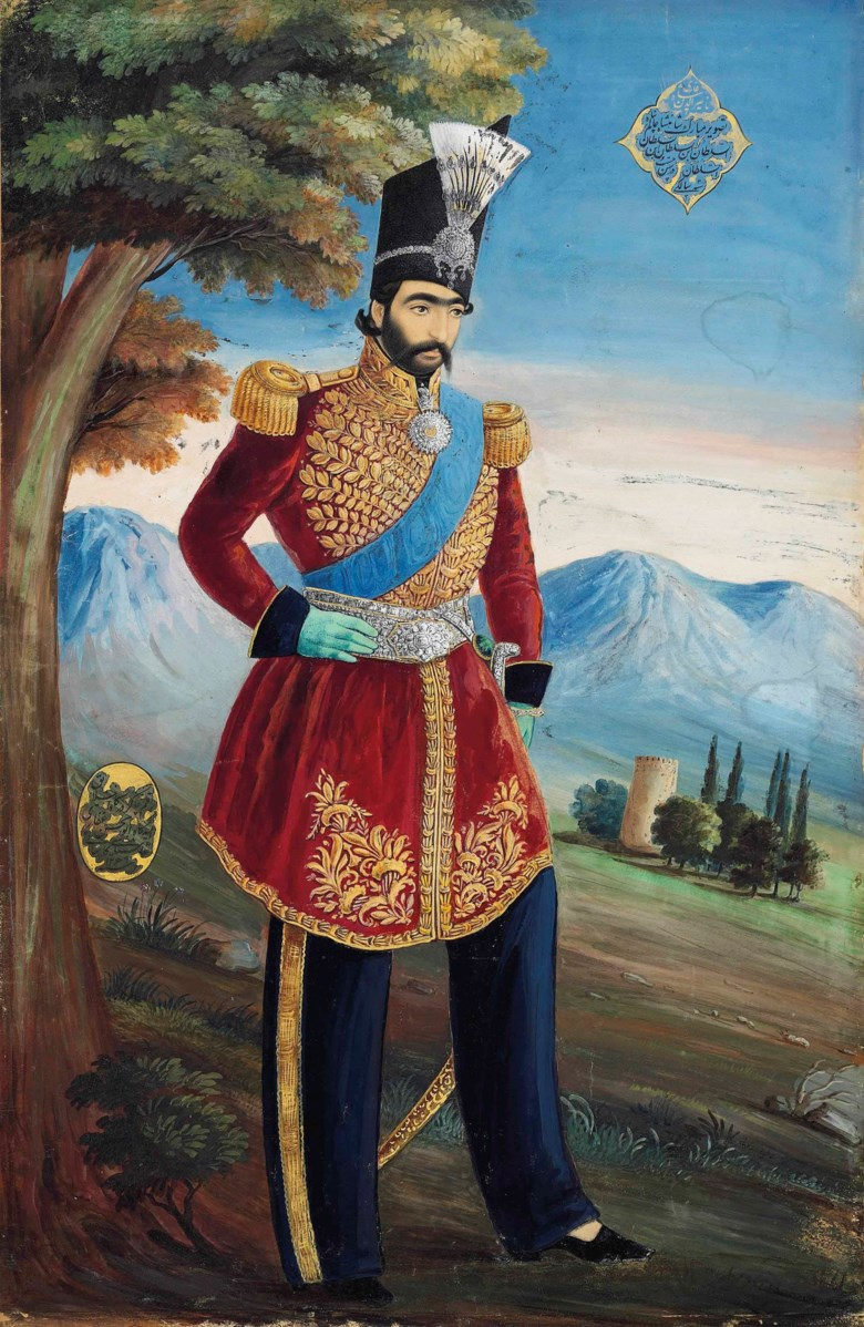 The young Nasir al-Din Shah Gajar, signed Abul Hassan Ghaffari, Gajar Iran, dated AH 12691852-53 AD. Painting 20½ x 13½ in (52 x 34.4 cm). Sold for £40,000 on 10 April 2014  at Christie's in London