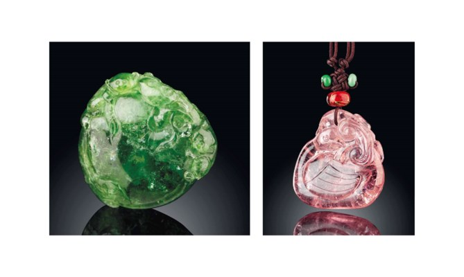 TWO TOURMALINE PENDANTS