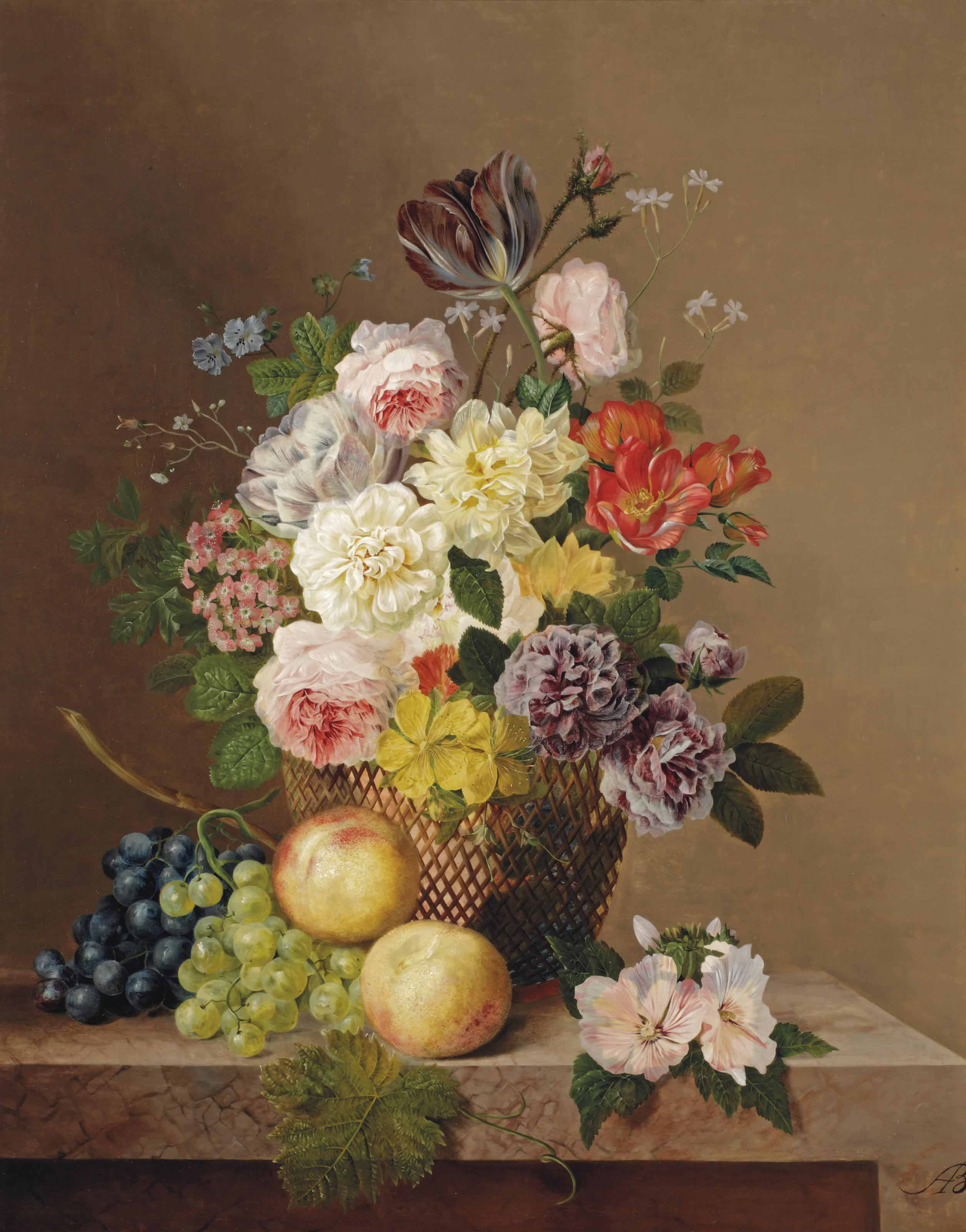 Summer flowers in a vase with grapes and peaches on a marble ledge