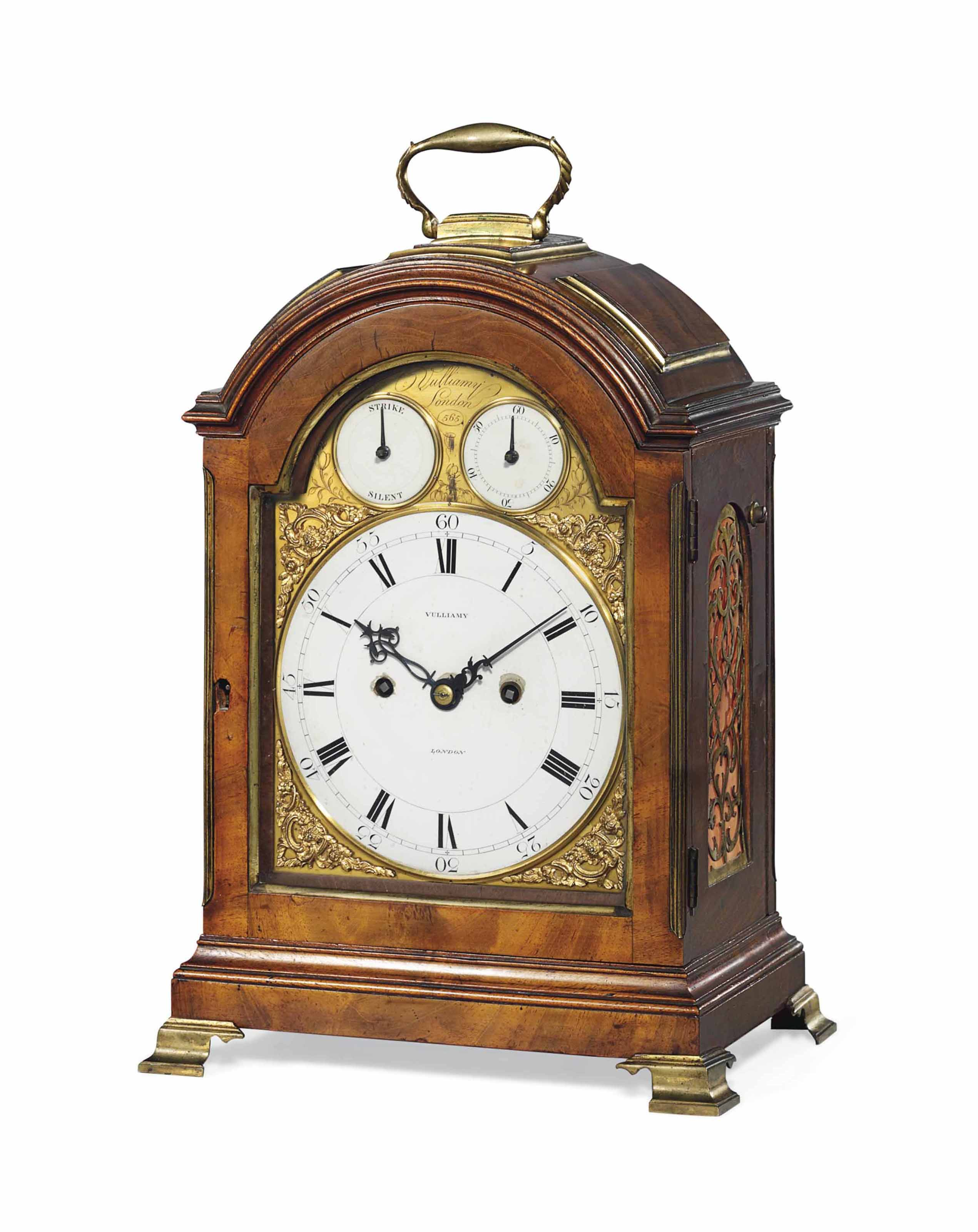 A GEORGE III GILT-BRASS MOUNTED MAHOGANY STRIKING TABLE CLOCK