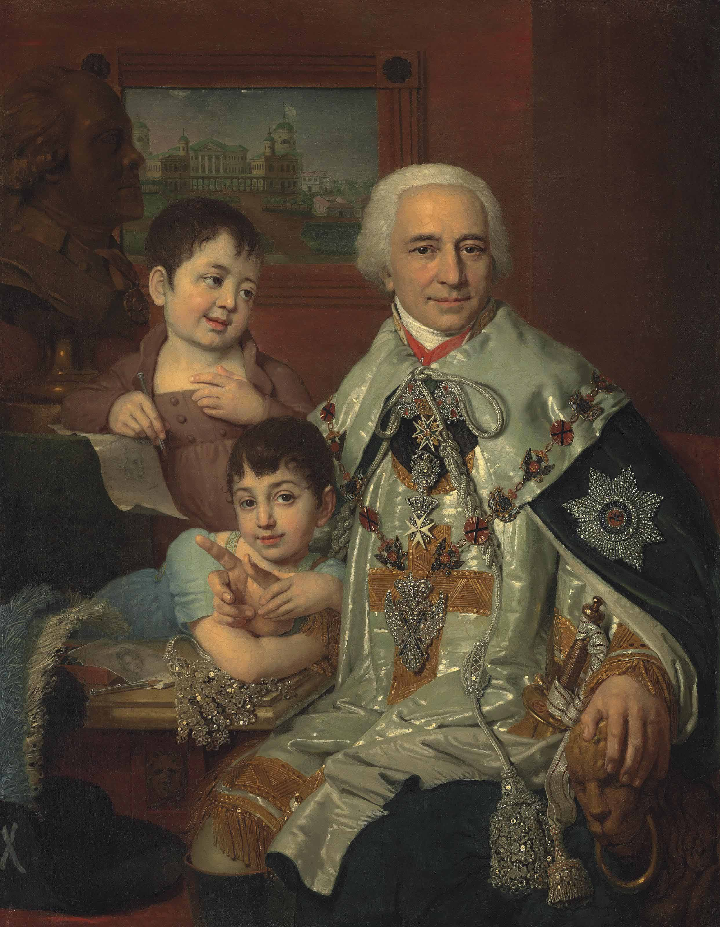 Portrait of Admiral Count Grigorii Grigorievich Kushelev (1754-1833), wearing the ceremonial costume of the Order of St Andrew, the diamond order of St Andrew with necklace, the Order of Malta with diamonds and the Order of St Anne and Alexander Nevskii,  with children Aleksandr (1800-1855) and Grigorii (1801-1855)