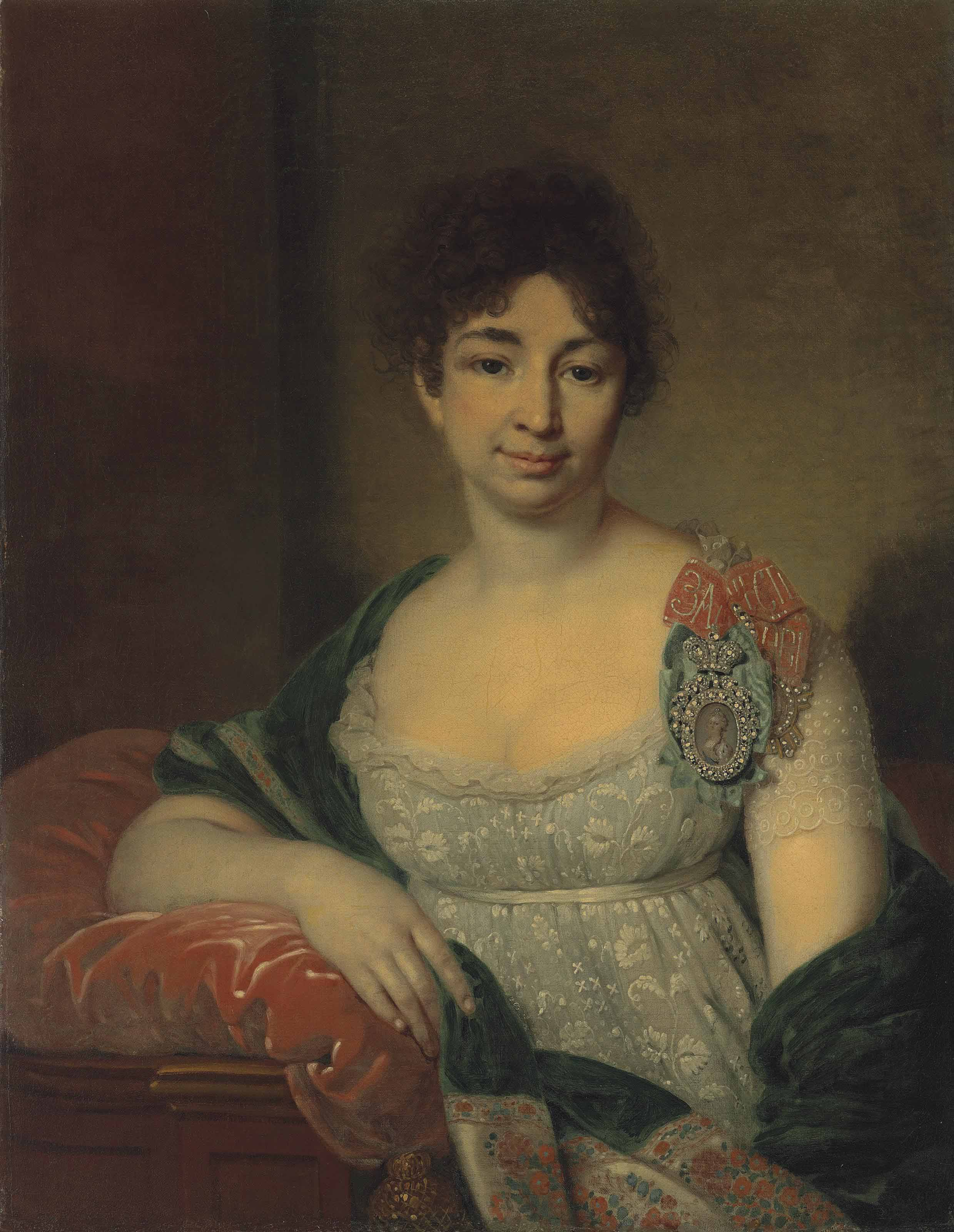 Portrait of Princess Ekaterina Nikolaevna Lopukhina, née Shetneva (1763-1839), wearing a Lady of Honour insignia and the Order of St Catherine