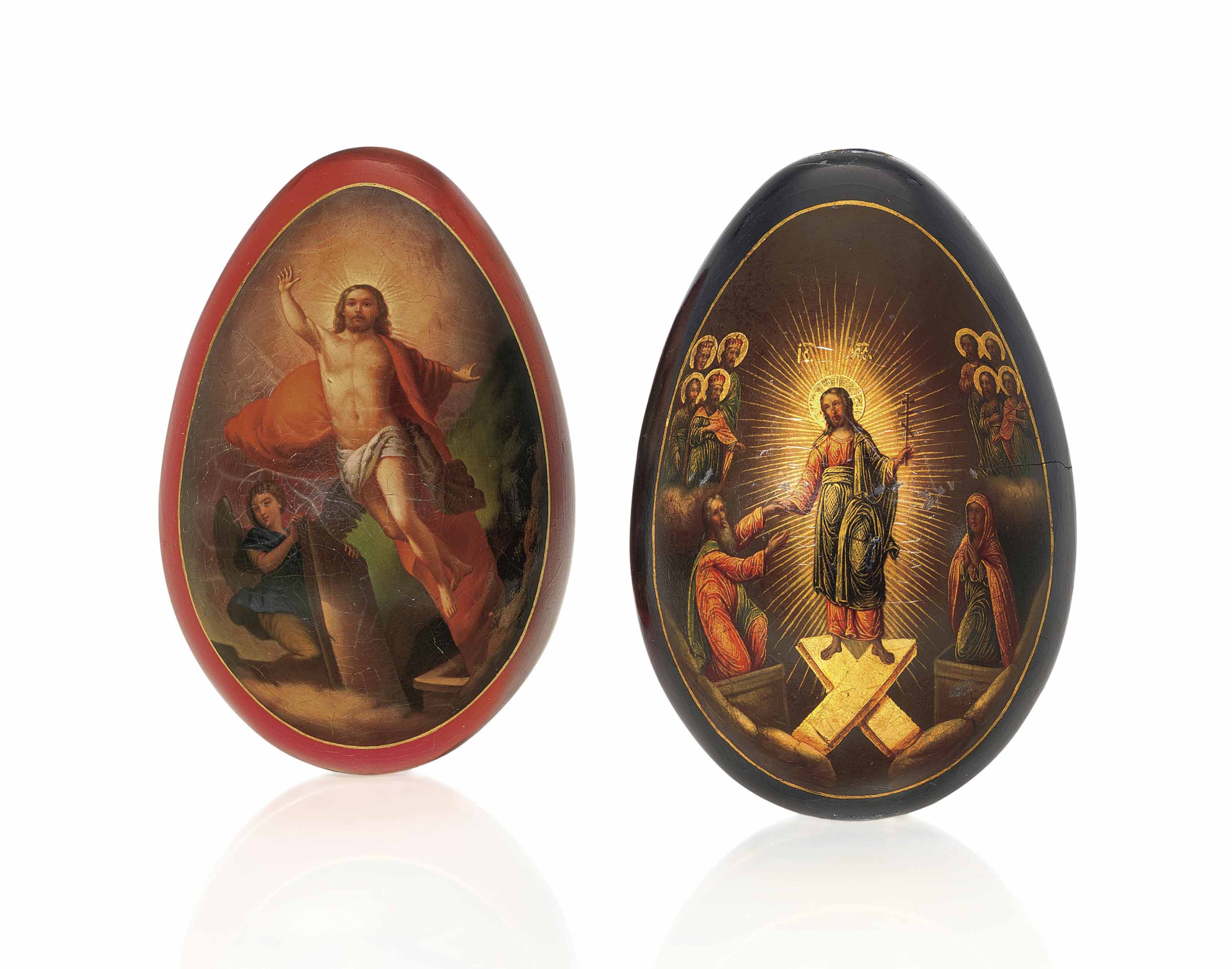 TWO PAPIER-MACHÉ EASTER EGGS