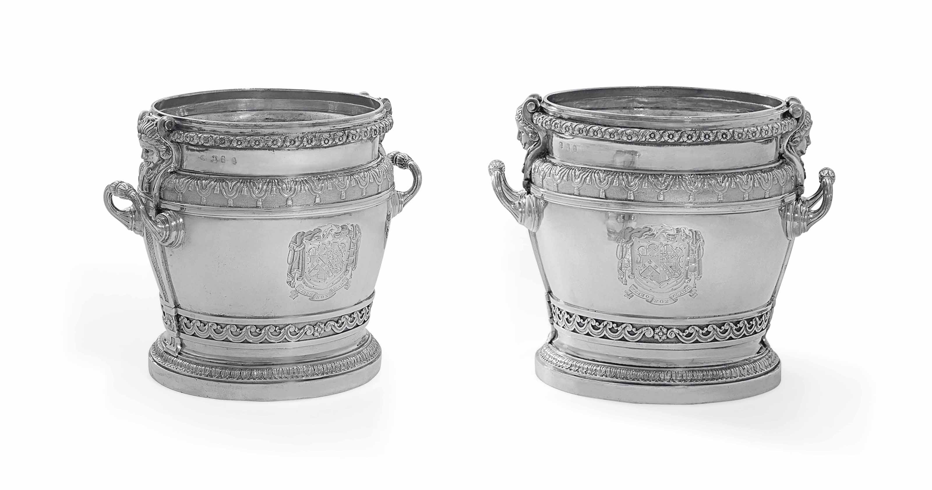 A PAIR OF WILLIAM III SILVER WINE-COOLERS
