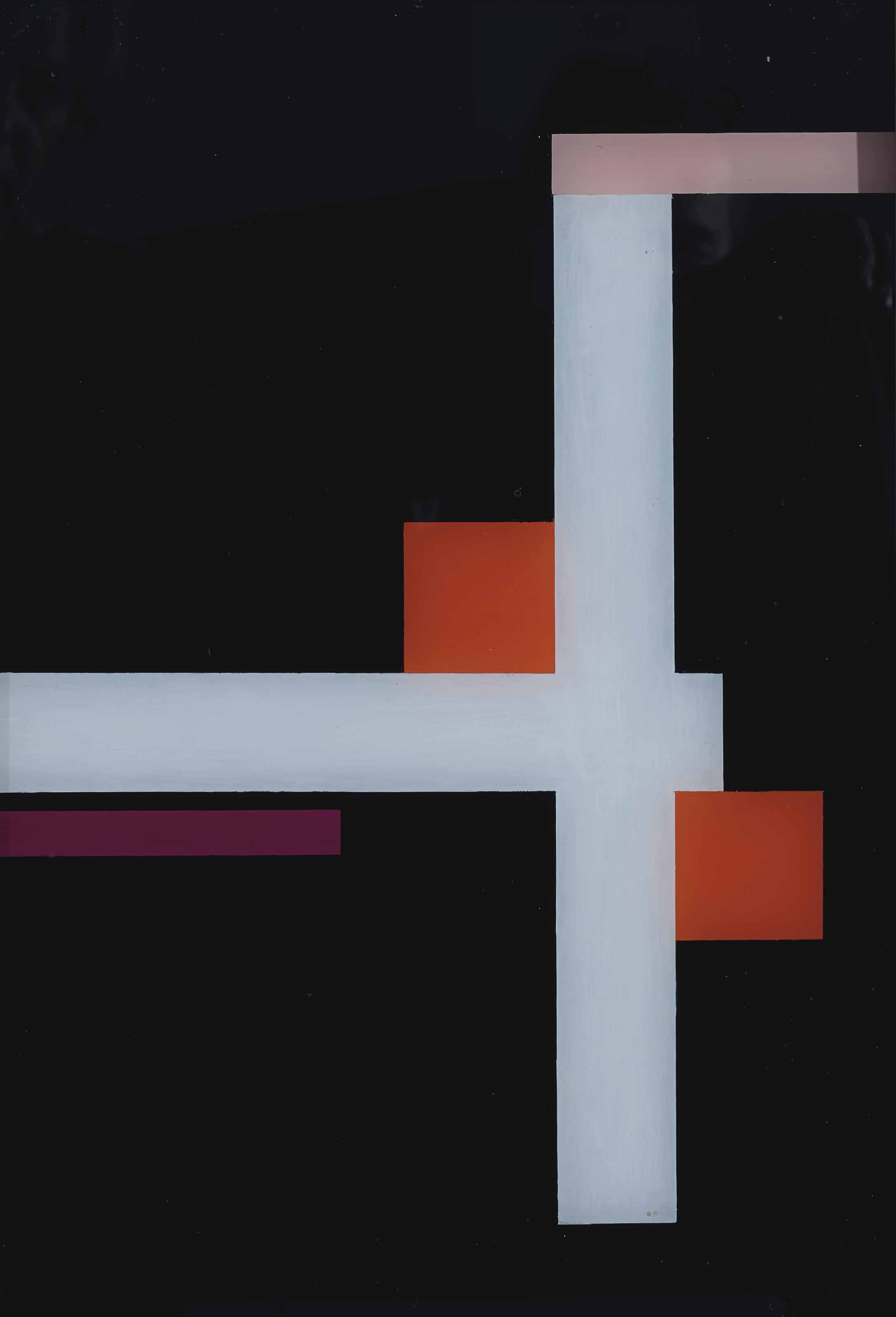 Figuration in weiß mit zwei roten Quadraten