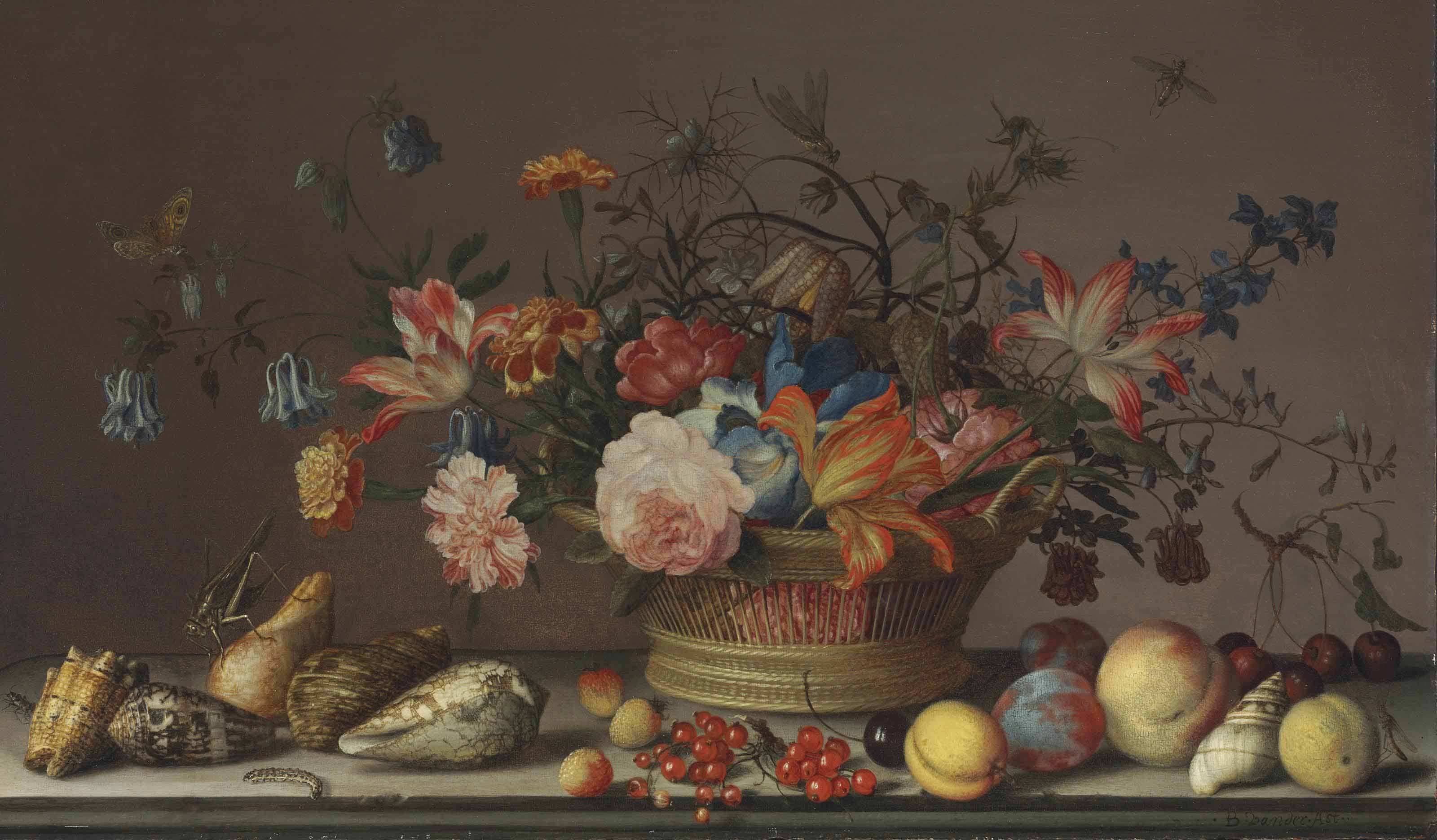 Parrot tulips, carnations, columbine, marigolds and other flowers in a woven basket, with shells, peaches, cherries, cranberries, plums, a grasshopper and other insects, on a stone ledge