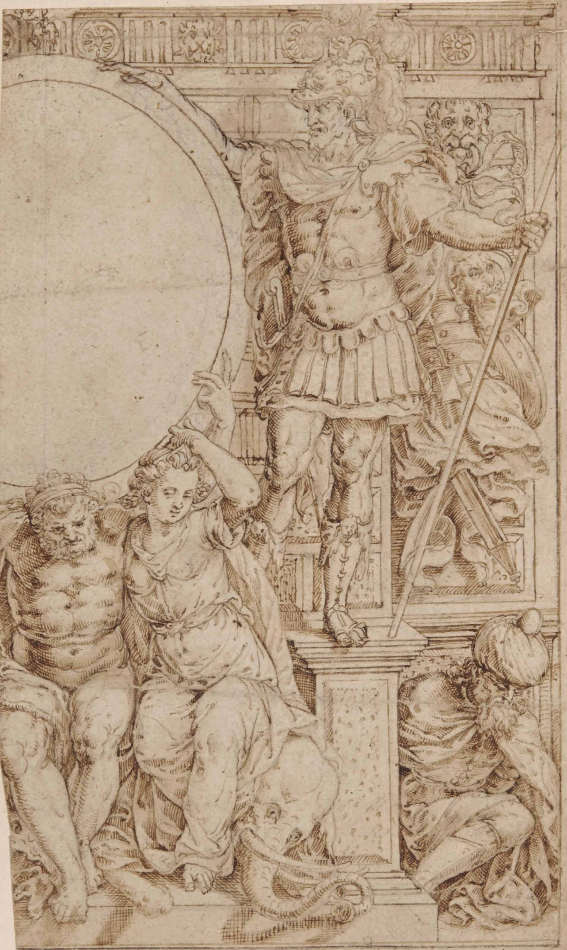 Study for a frontispiece with an allegory of victory over the Turks: A warrior holding a spear, a seated captive wearing a turban and allegorical figures seated on an elephant