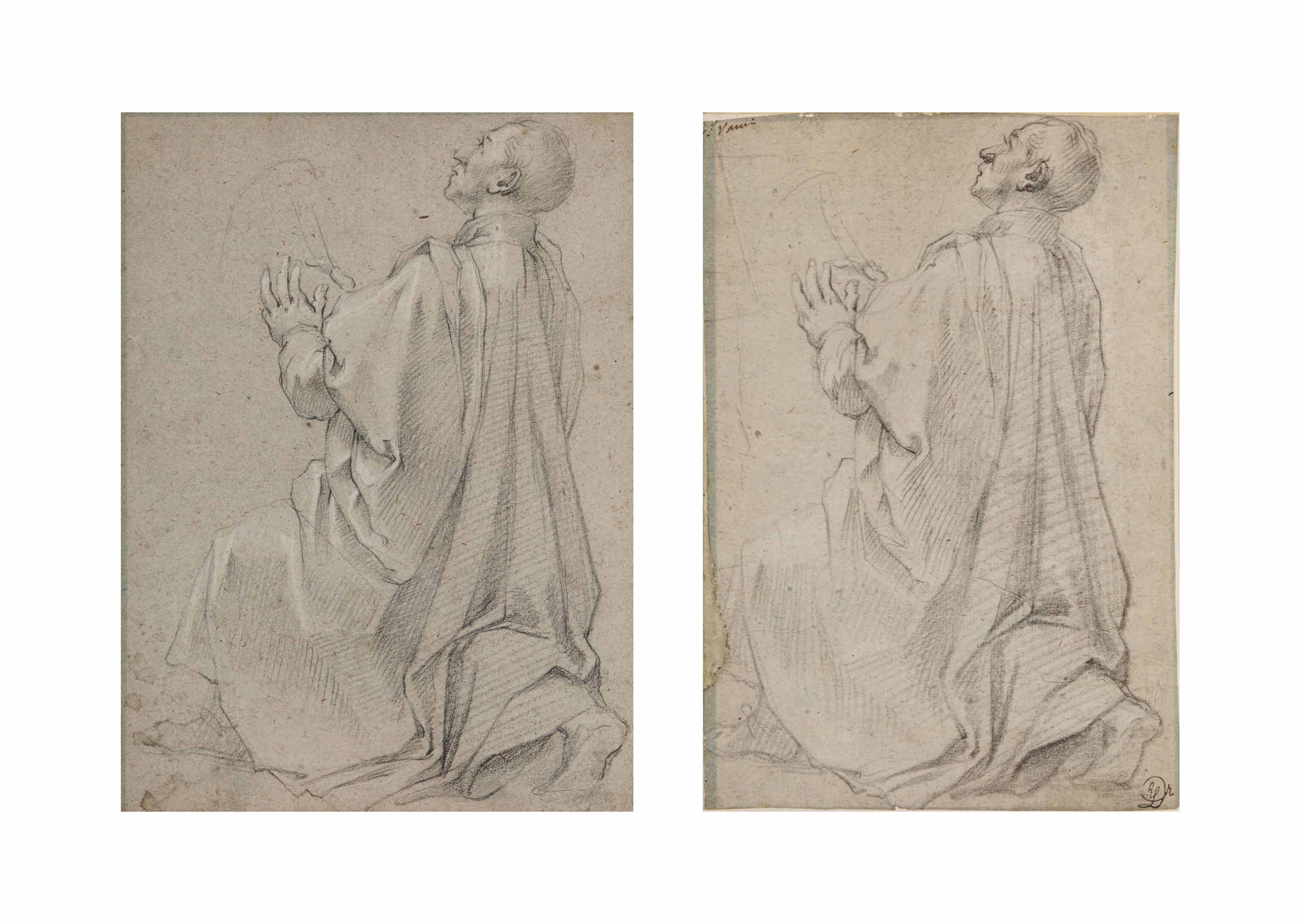 Studies of a kneeling man turned to the left: David playing the harp