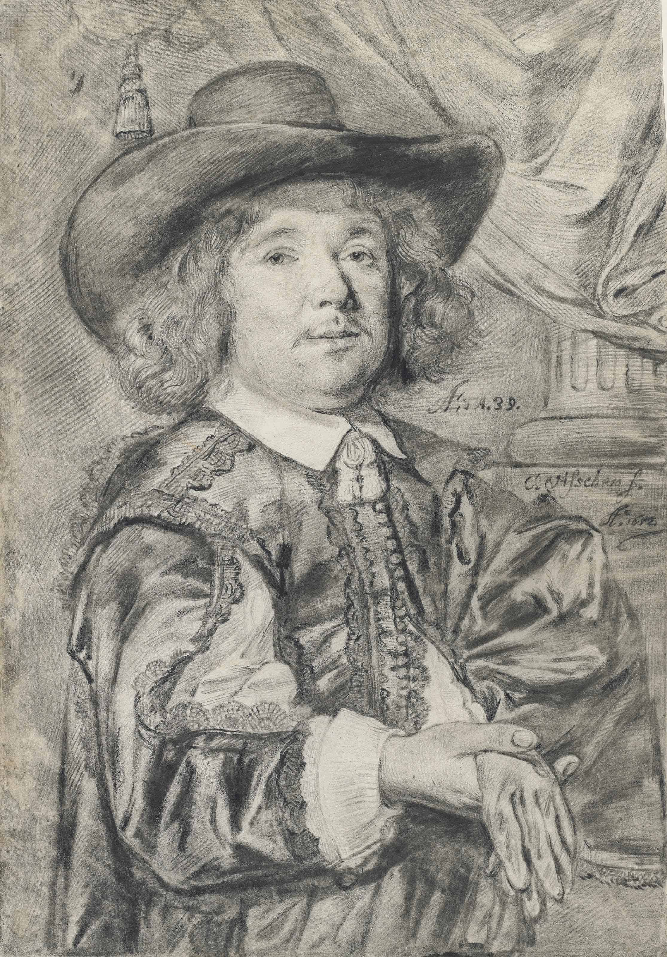 Portrait of a gentleman aged 39, half-length, wearing a wide-brimmed hat, holding his gloves in his right hand