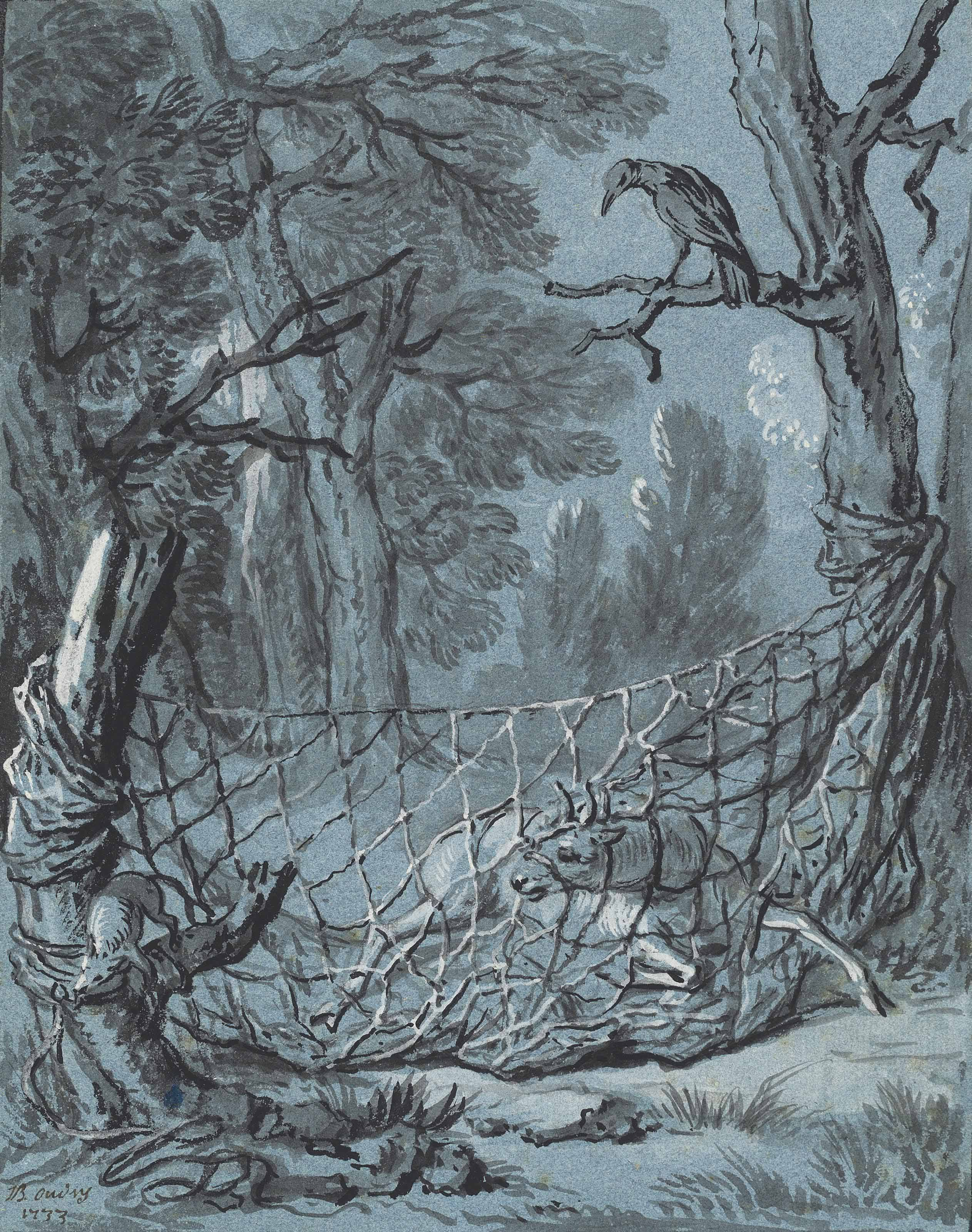 Illustration of a fable by Jean de La Fontaine: The crow, the gazelle, the tortoise and the rat