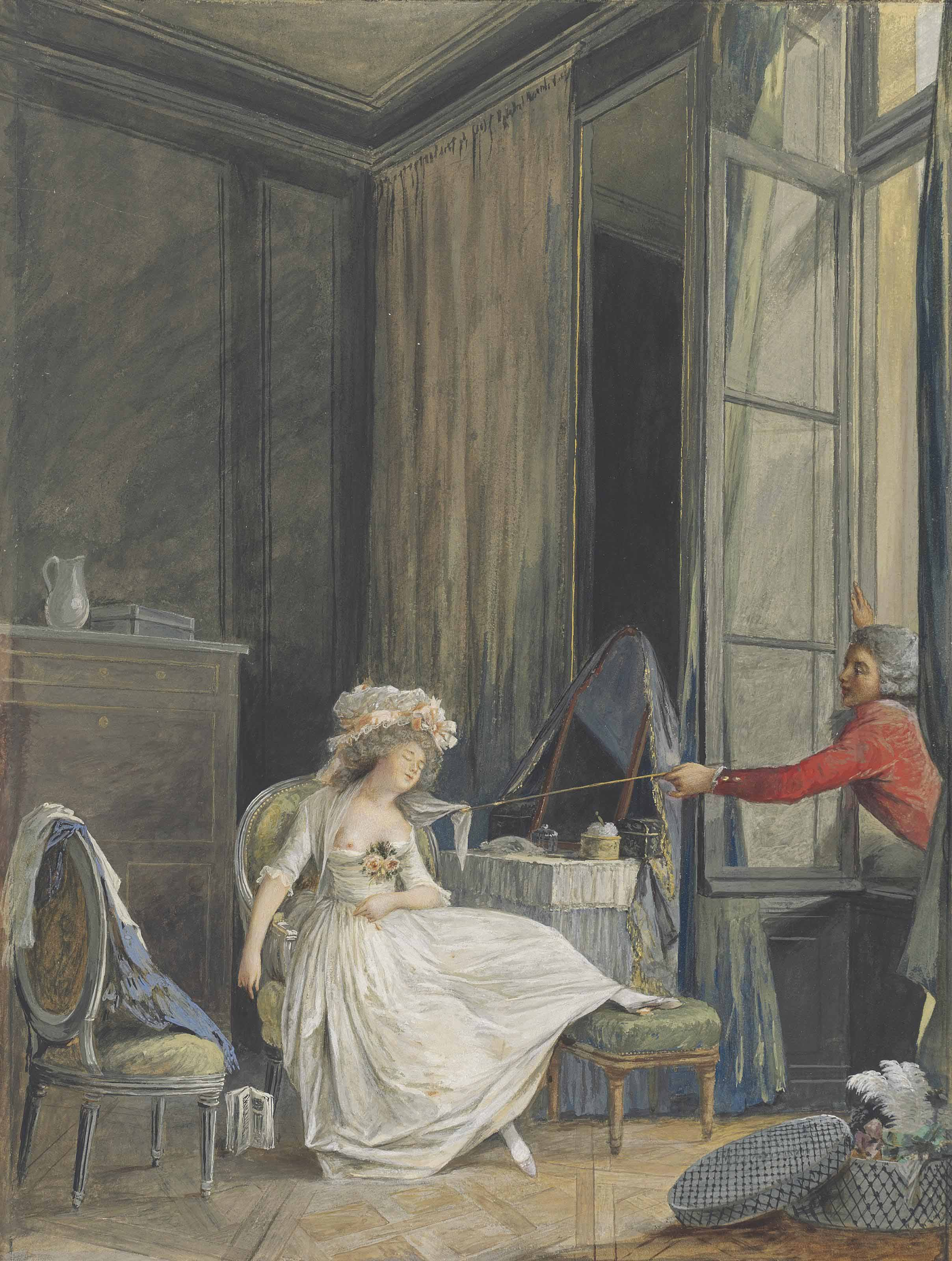'L'amour frivole': A young man leaning through a window to lift the fichu of a sleeping girl