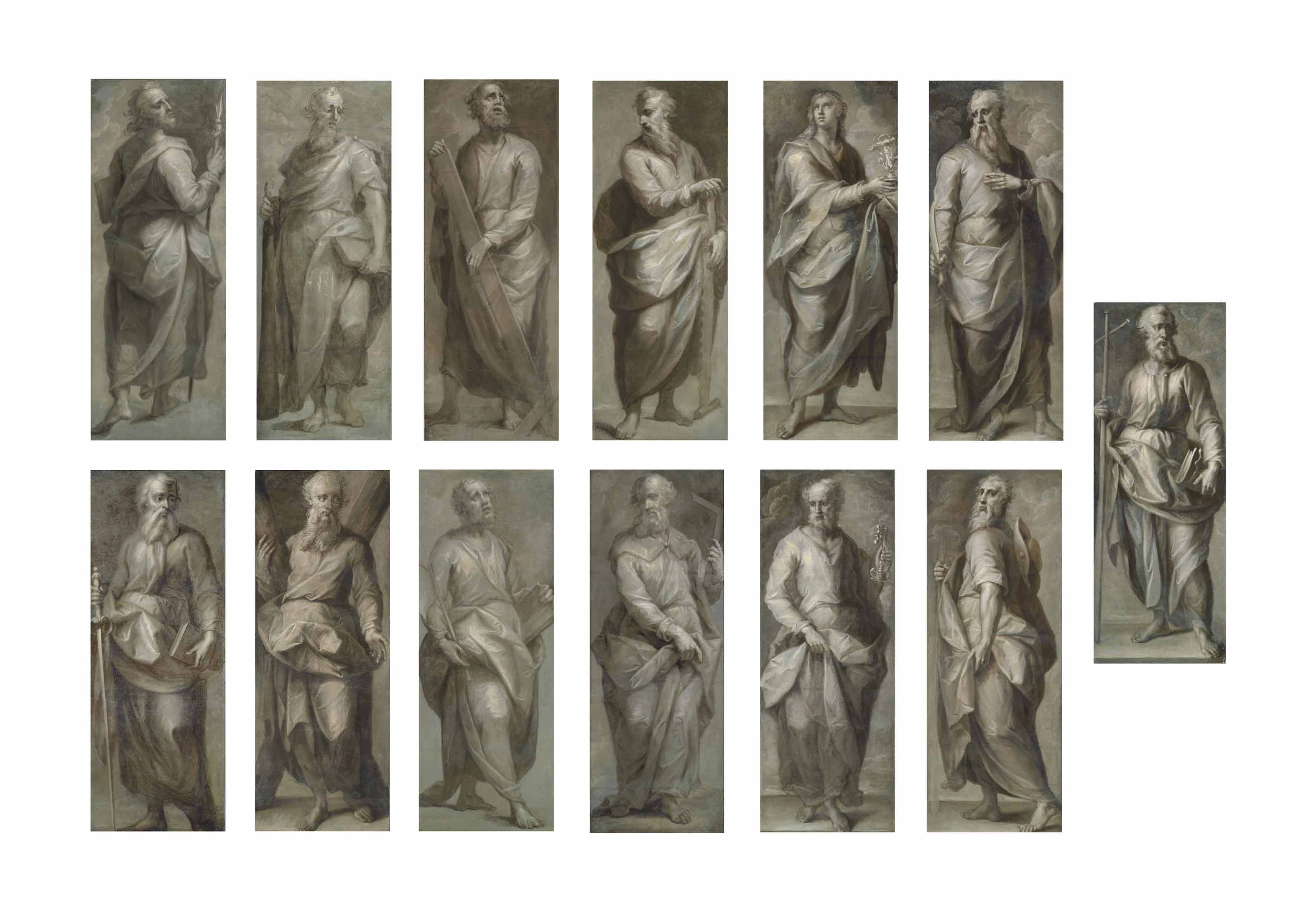 The Twelve Apostles: Saints Andrew, Thomas, Philip, Bartholomew, Simon Zealot, Mathias, James the Great, Jude, Matthew, Peter, James the Less and John; and Saint Paul