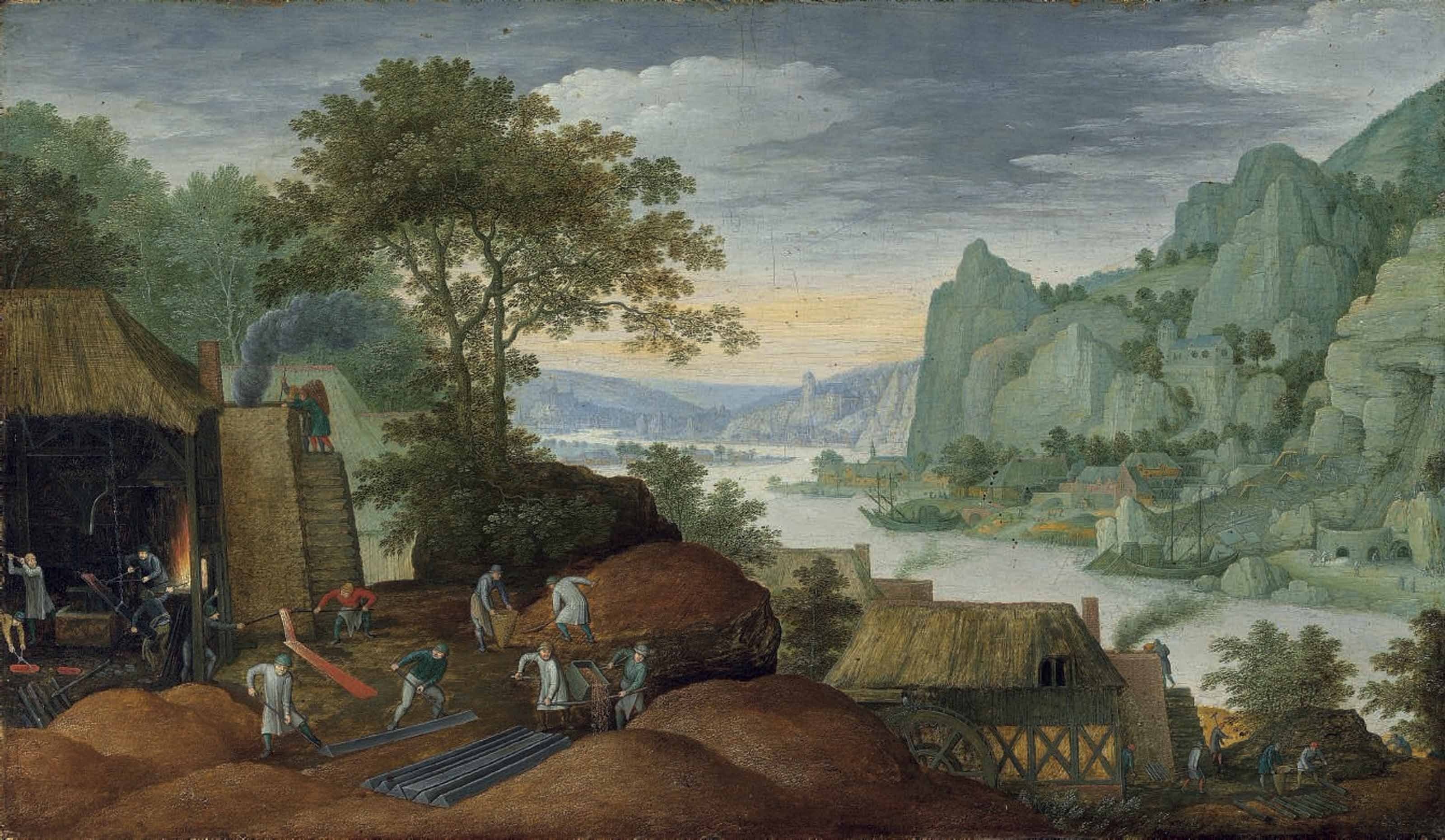 A rocky landscape with figures by an iron foundry, a river and houses on the bank beyond