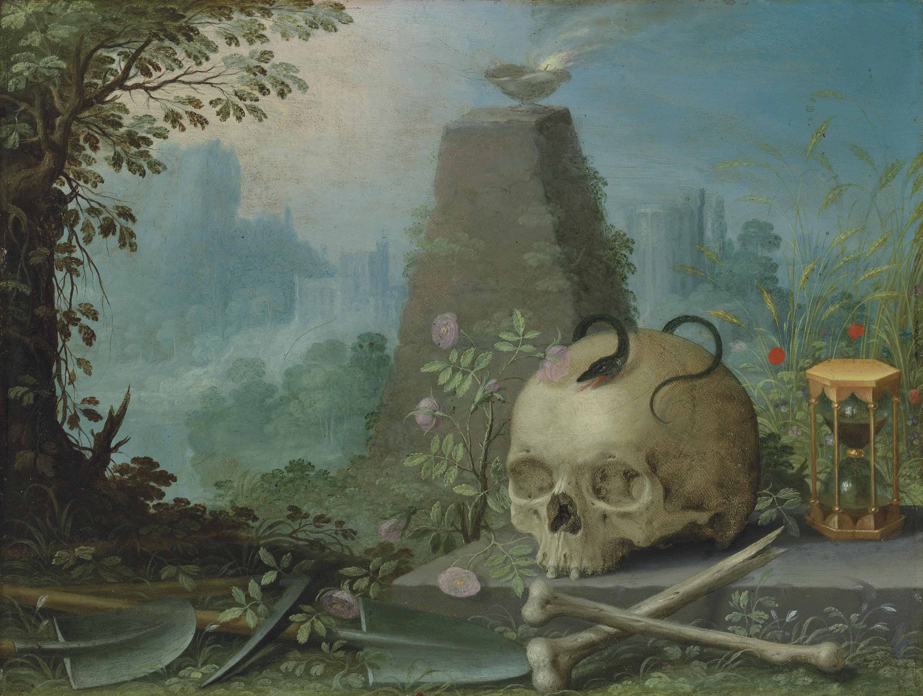 A skull with a snake, an hour-glass, a scythe, with roses and other wild flowers before a pyramid and sacrificial bowl, in an Arcadian landscape