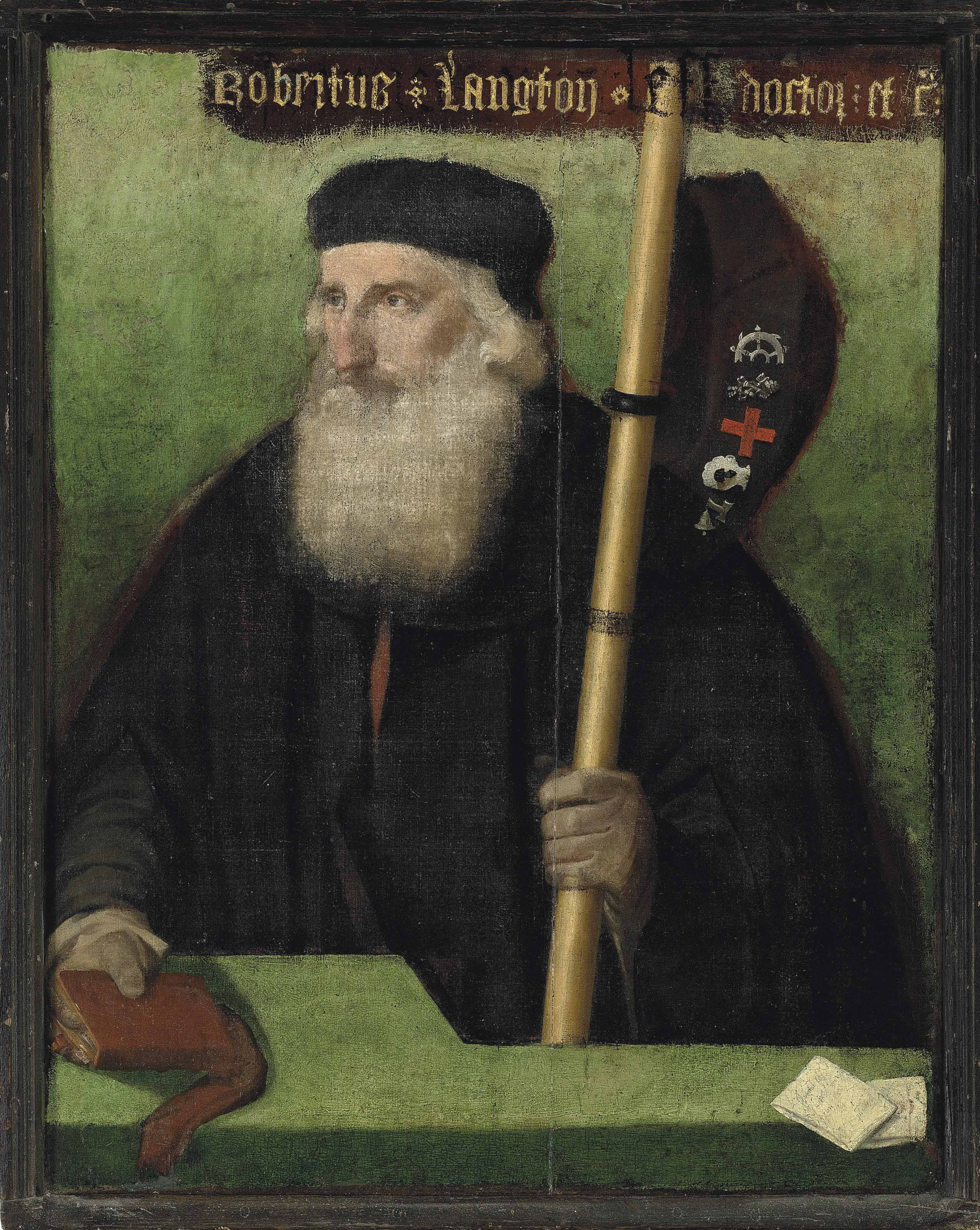 Portrait of Robert Langton (1470-1524), half-length, in black robes and cap, holding a pilgrim staff in his left hand, from which is suspended a pilgrim hat with badges, and a book in his right, behind a parapet