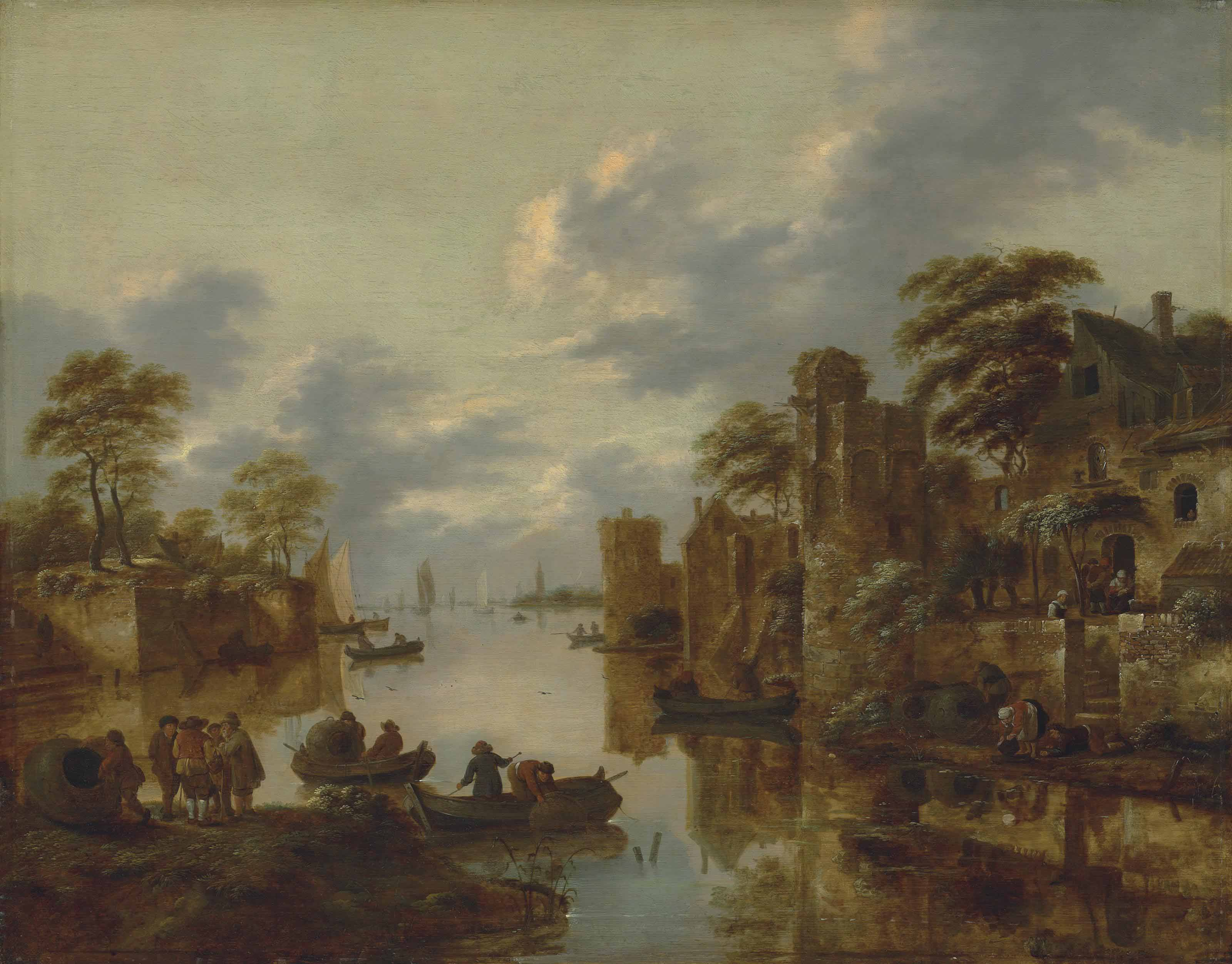 A river landscape with fishermen on the left bank and rowing boats and other figures near a walled town by the canal