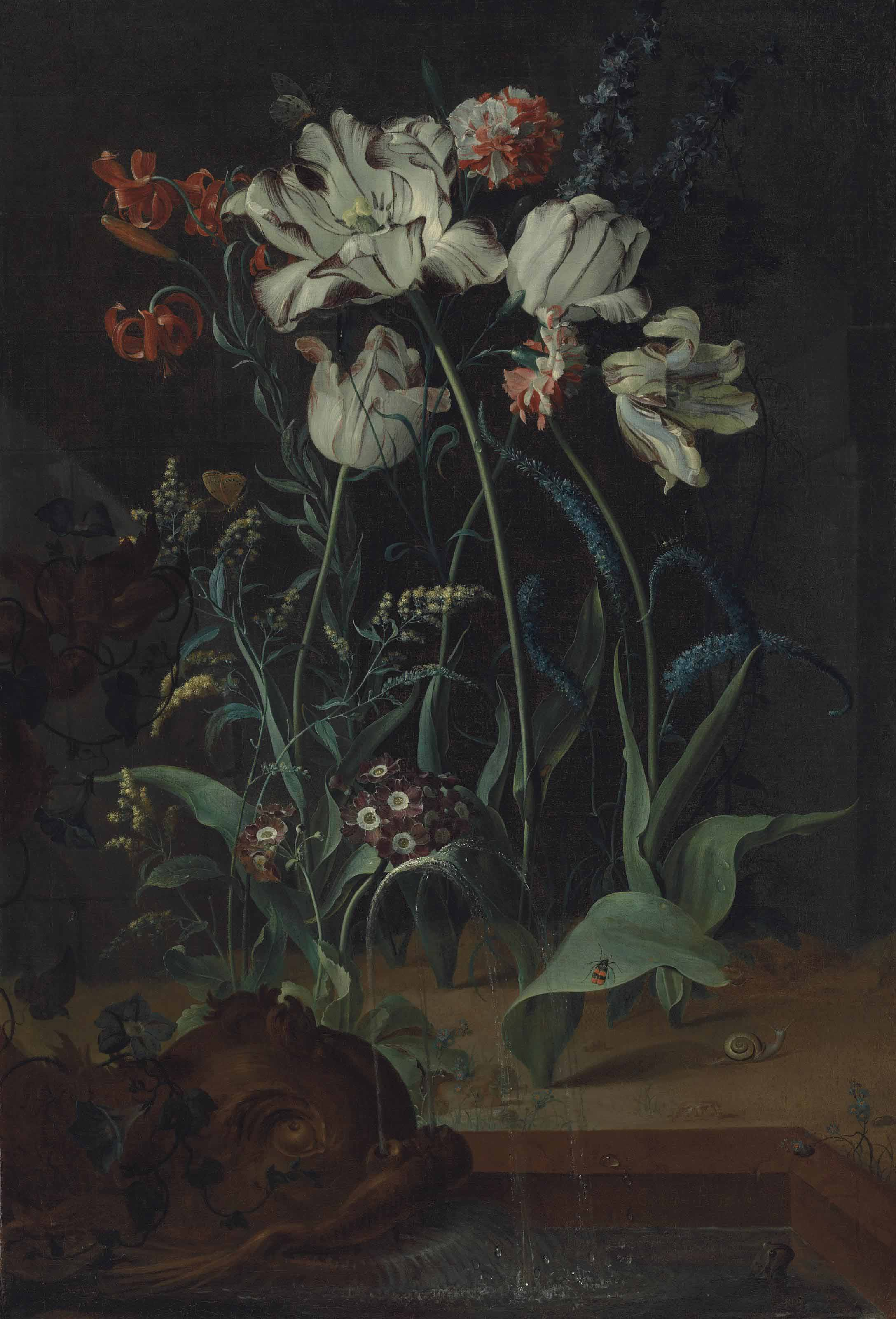 Parrot tulips, carnations, Turk-cap lilies and other flowers with a snail, a frog and insects by a fountain with a sculpted dolphin