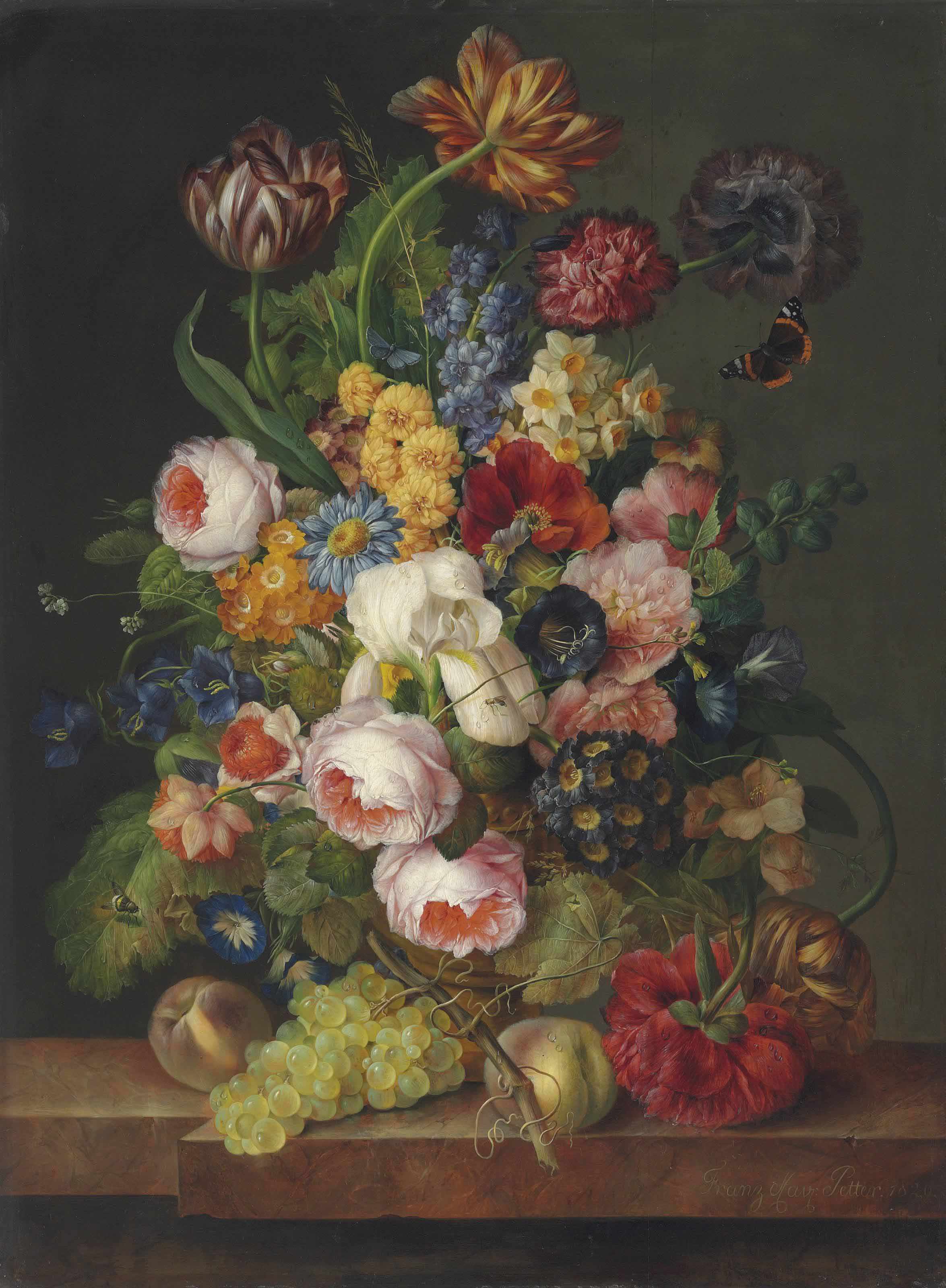 Roses, parrot tulips, an iris, daffodils, peonies, morning-glory and other flowers with a Red Admiral, a bee and other insects in a sculpted urn with peaches and grapes on a marble ledge