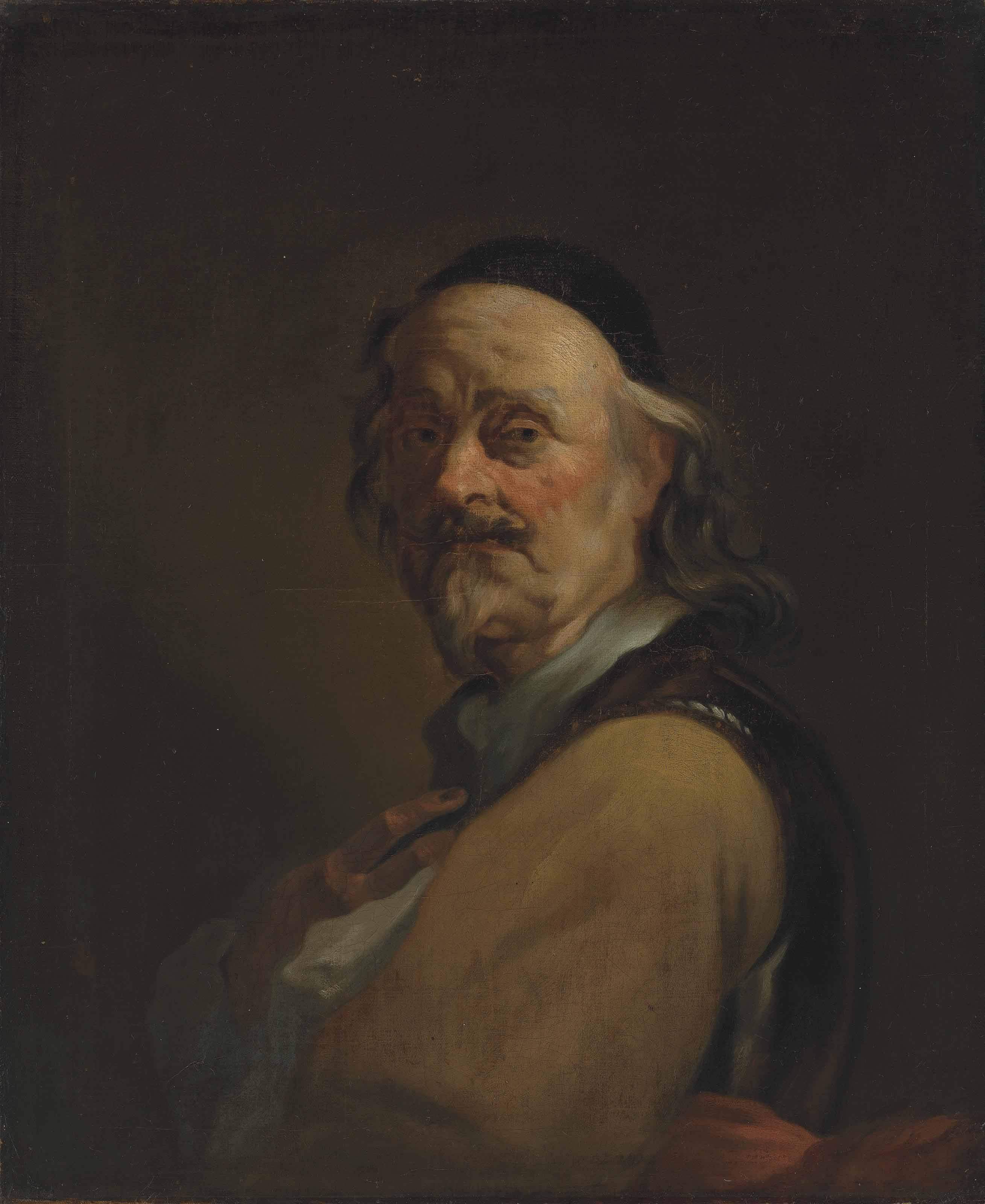 Portrait of the artist in a breastplate and a black cap