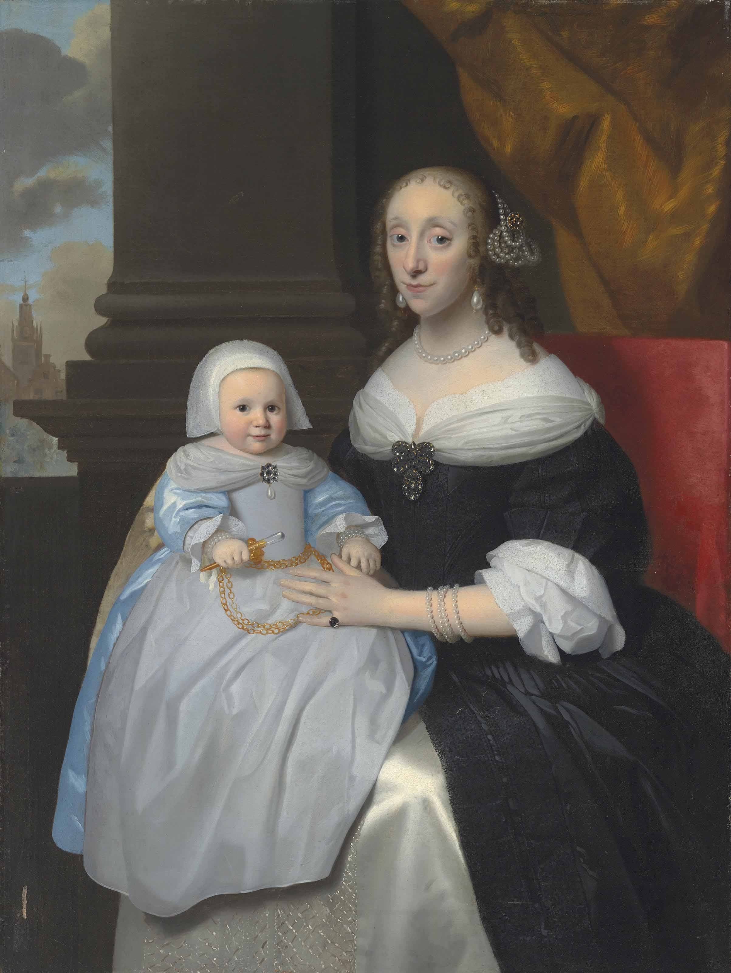 Portrait of a woman, three-quarter-length, in a black dress, pearls and a diamond broche, with her child in a blue dress and pinafore, holding a rattle, in an interior, a church beyond