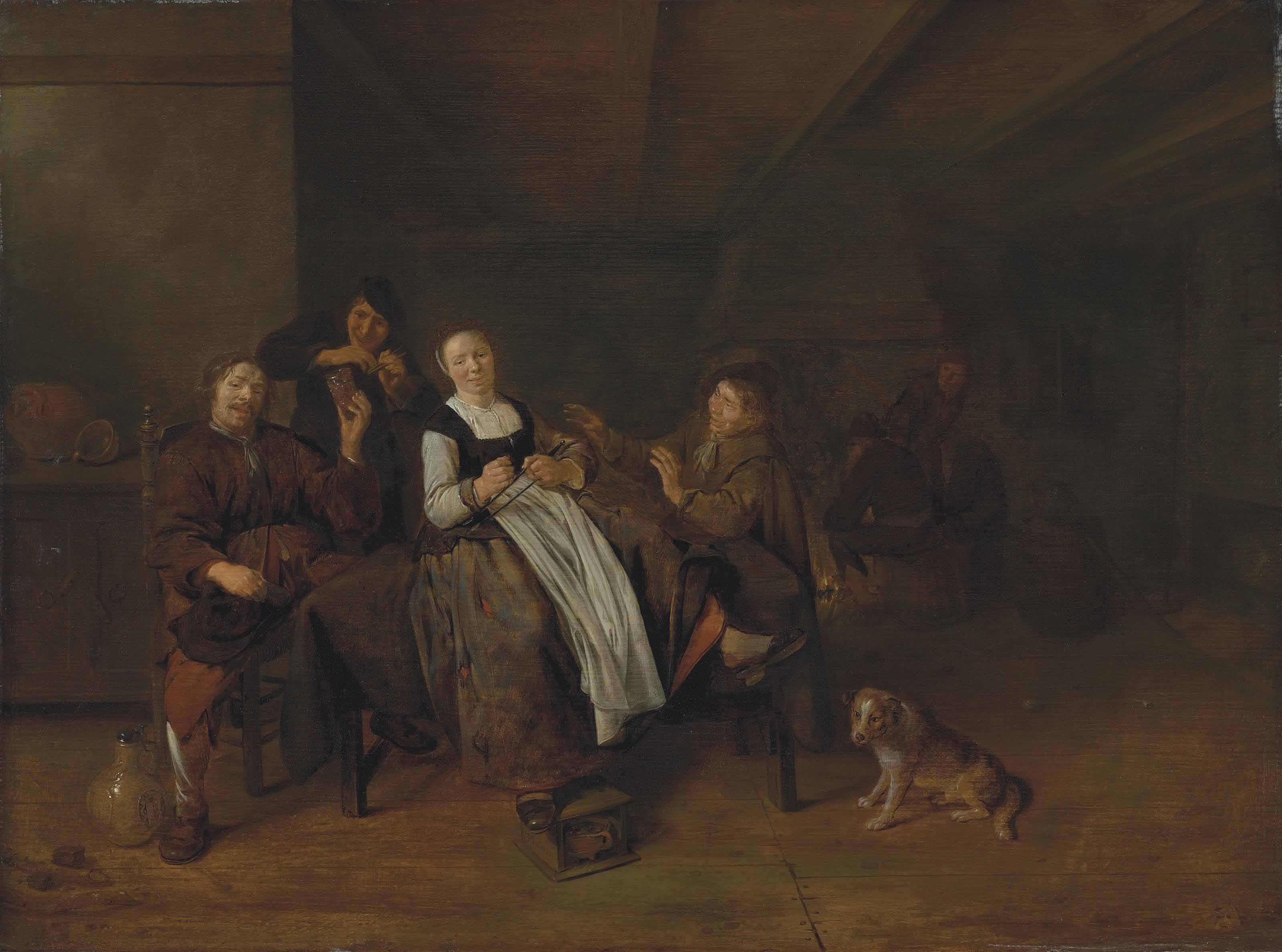 A merry group of figures sitting in a barn with a dog, others gathering around a fireplace