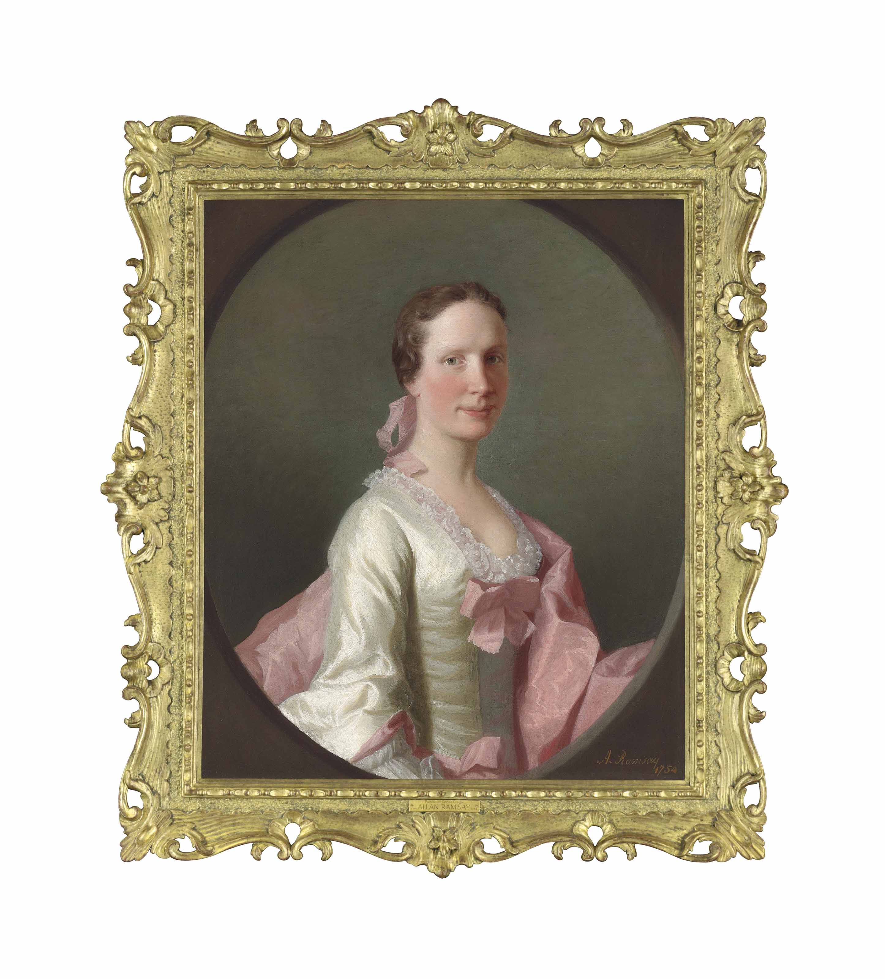 Portrait of Cecilia Craigie (b. 1727), half-length, in a white silk dress with pink ribbons and a pink wrap