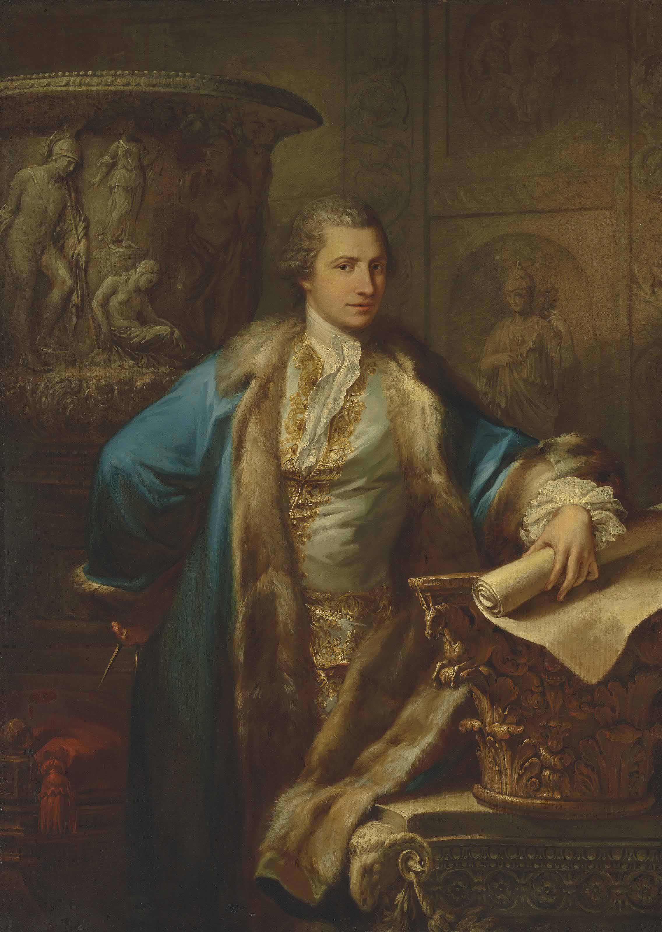 Portrait of James Adam (1732-1794), three-quarter-length, in an embroidered waistcoat and fur-lined blue coat, holding a pair of compasses, and a scroll, leaning on a capital, in an interior