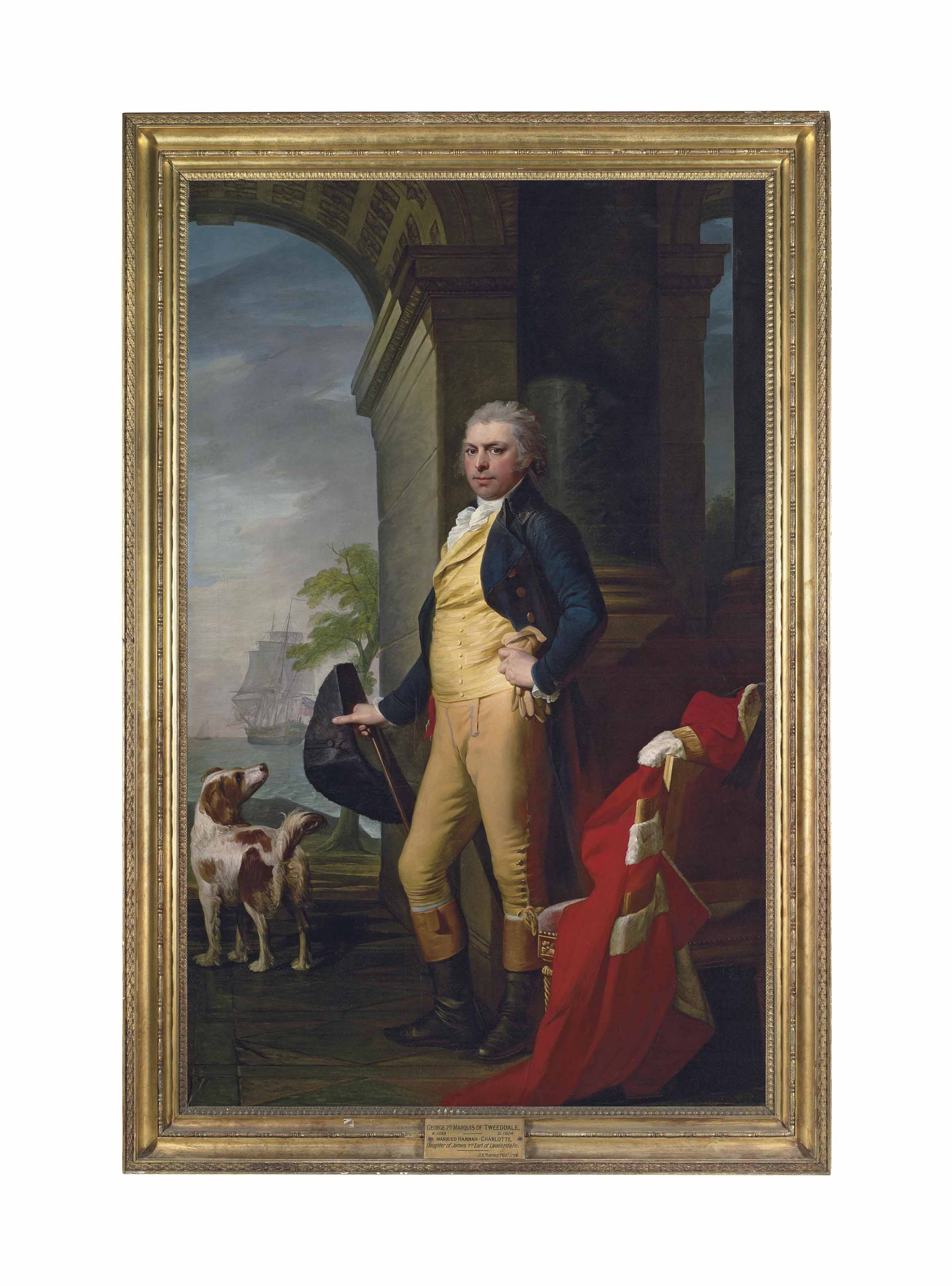 Portrait of George Hay (1753-1804), 7th Marquess of Tweeddale, full-length, in a blue coat, a gold waistcoat and a white stock, holding a top hat and a cane, his peer's robes on the chair beside him, with a hound, a ship at sea beyond