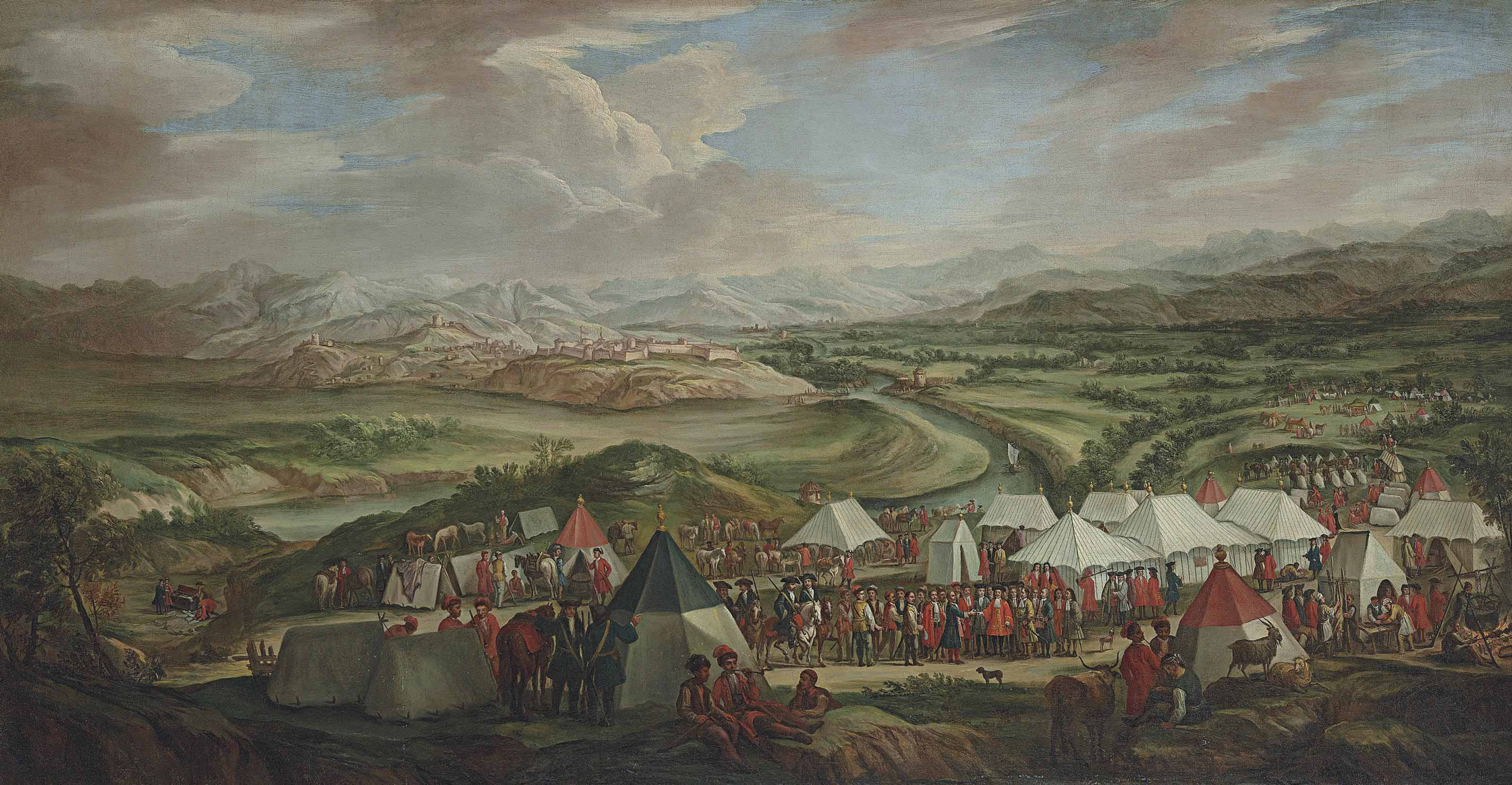An extensive landscape with the Venetian encampment before Imotski, with a delegation of the Venetians and the Turks meeting in the foreground