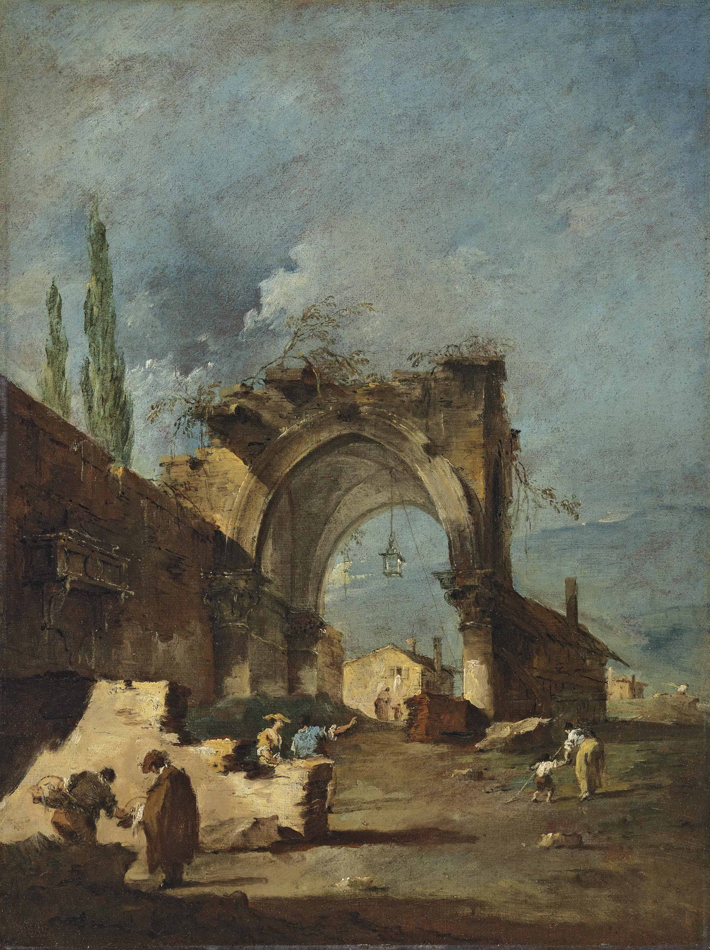 A capriccio of ruined buildings, with cypresses and figures by an arch