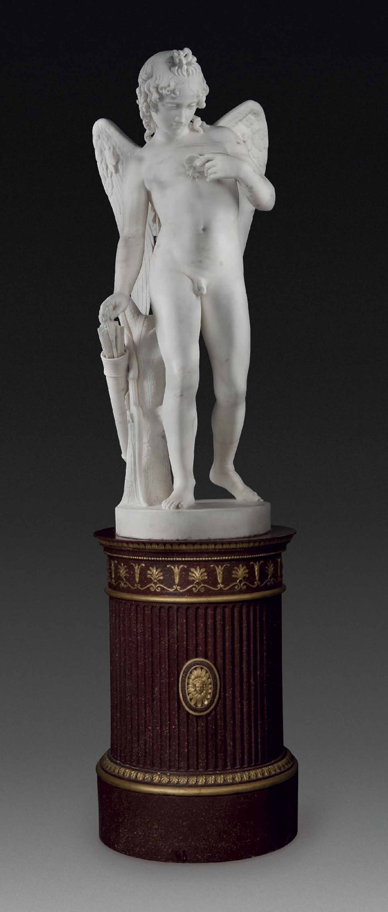 A LIFE-SIZE MARBLE FIGURE OF CUPID, ENTITLED 'LOVE TORMENTING THE SOUL'