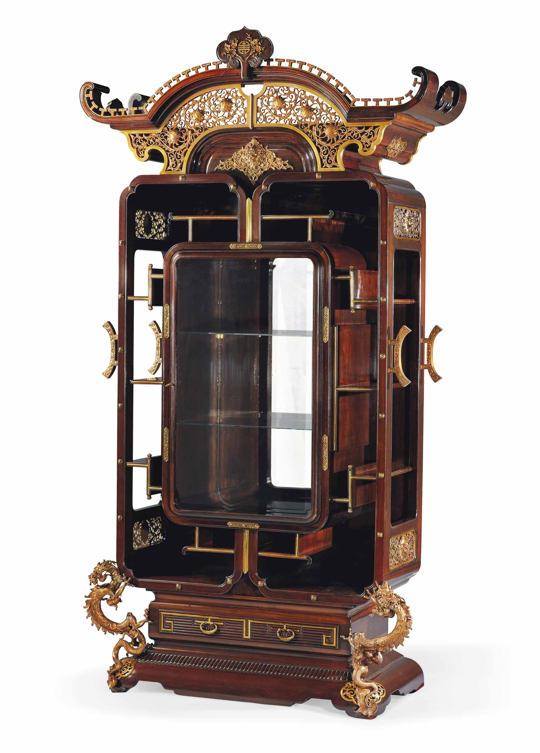 A FRENCH ORMOLU-MOUNTED ROSEWOOD VITRINE-CABINET