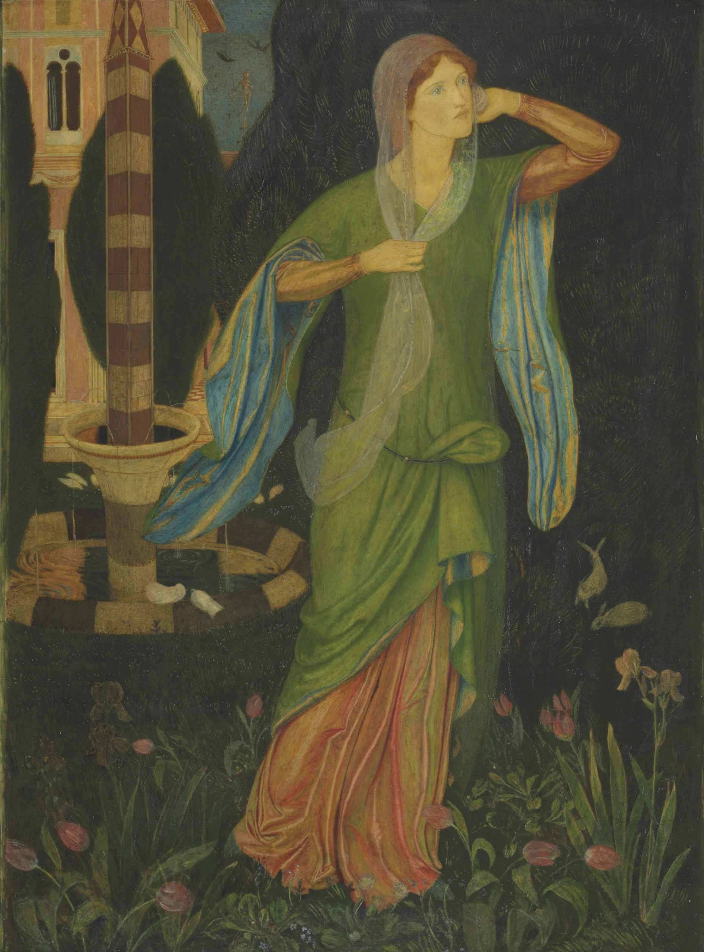 Psyche 'And rose to enter the fair golden place; But then remembering all her piteous case She turned away, lamenting very sore'  (William Morris's 'Story of Cupid and Psyche', The Earthly Paradise)