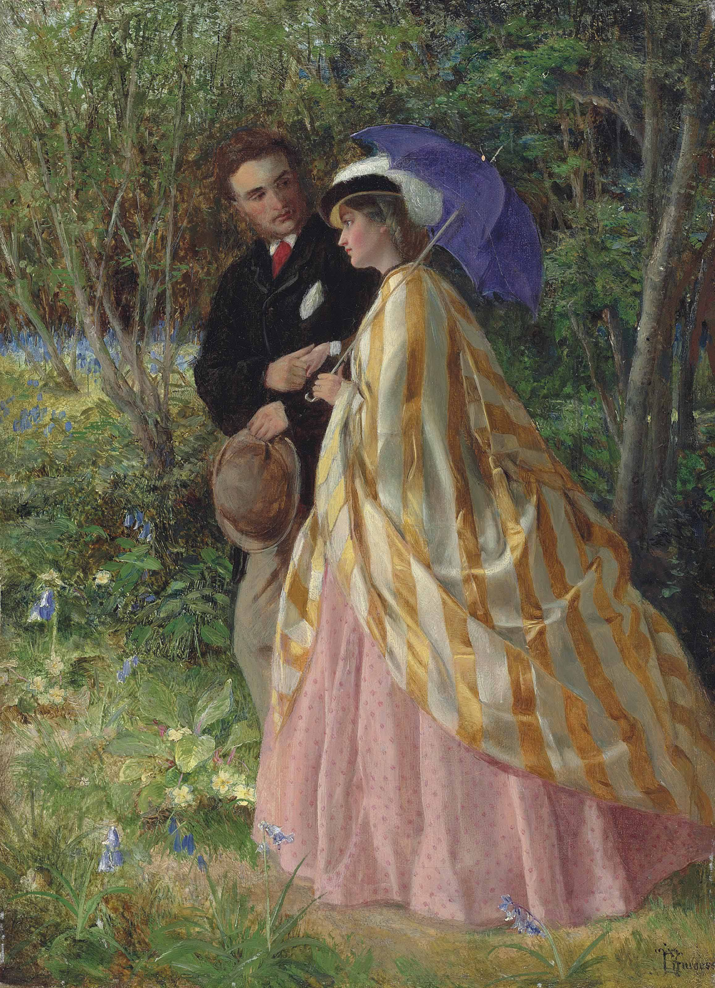 Lovers conversing in a bluebell wood