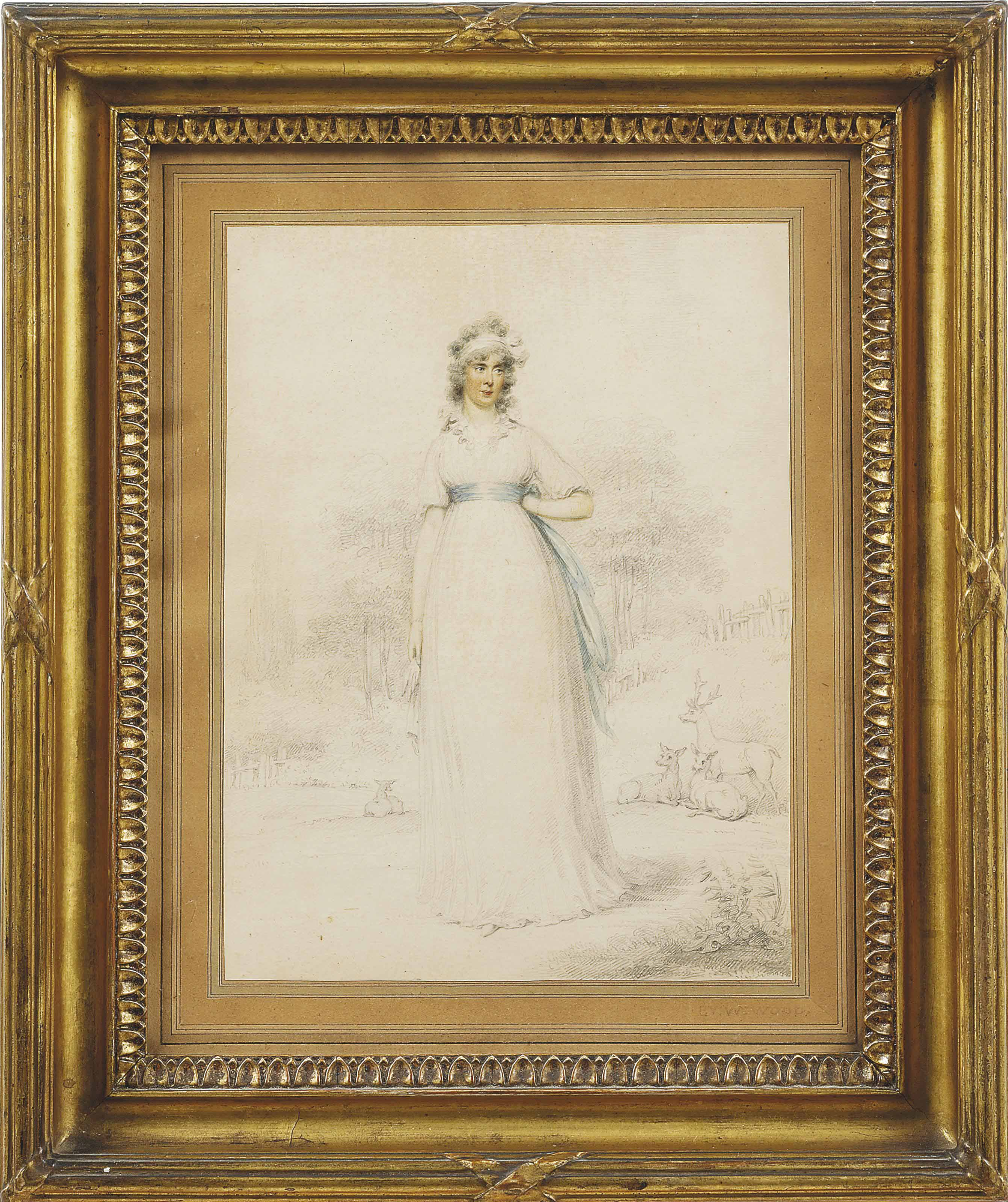 Portrait of Katherine, Countess of Mornington (1760-1851), full-length, in a white dress and blue sash, a landscape beyond