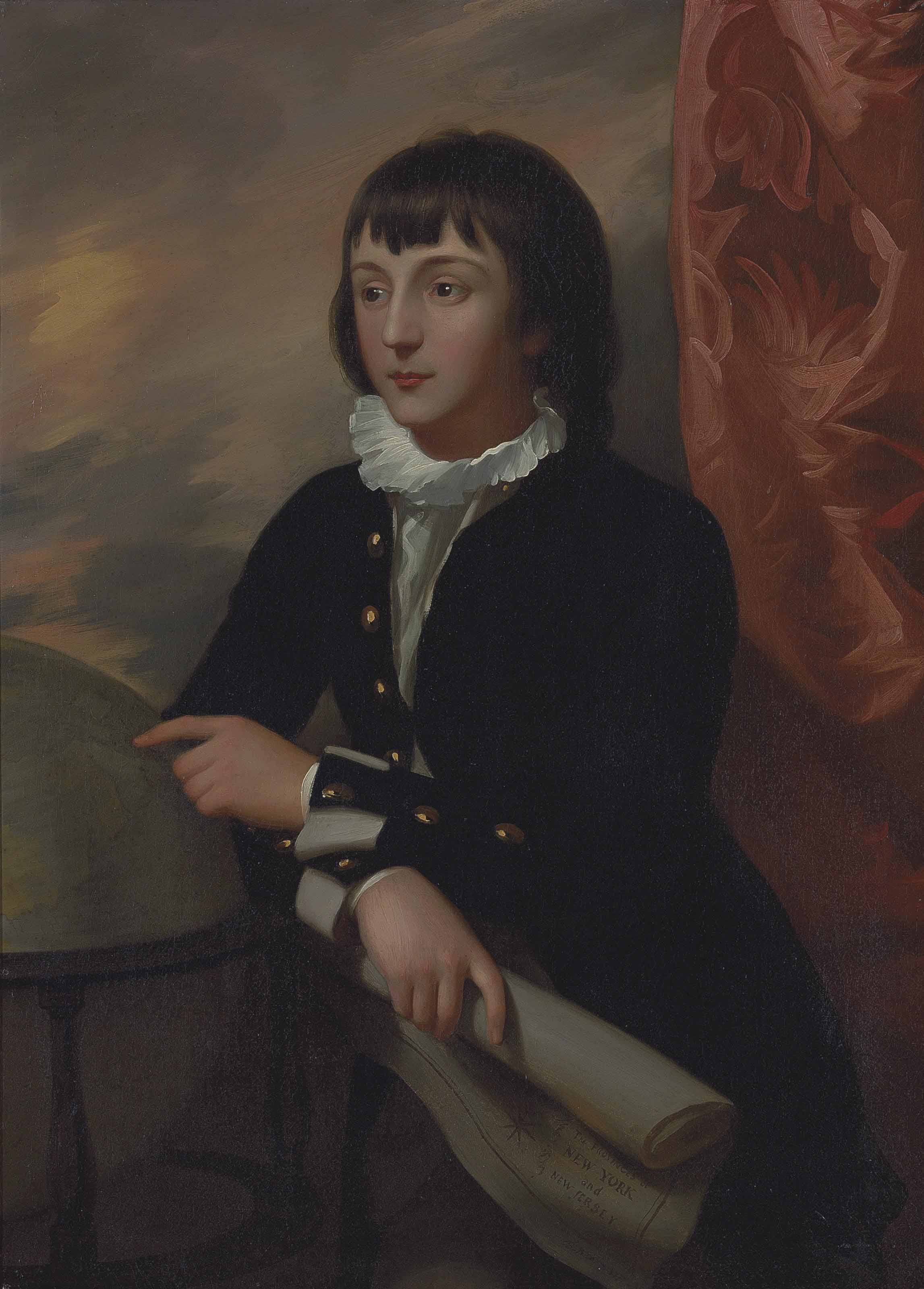 Portrait of the Hon. William Wellesley-Pole, 1st Baron Maryborough, and 3rd Earl of Mornington (1763-1845), three-quarter-length, in a dark coat and white shirt with a ruff, leaning on a globe and holding a scroll of paper, standing by a draped curtain